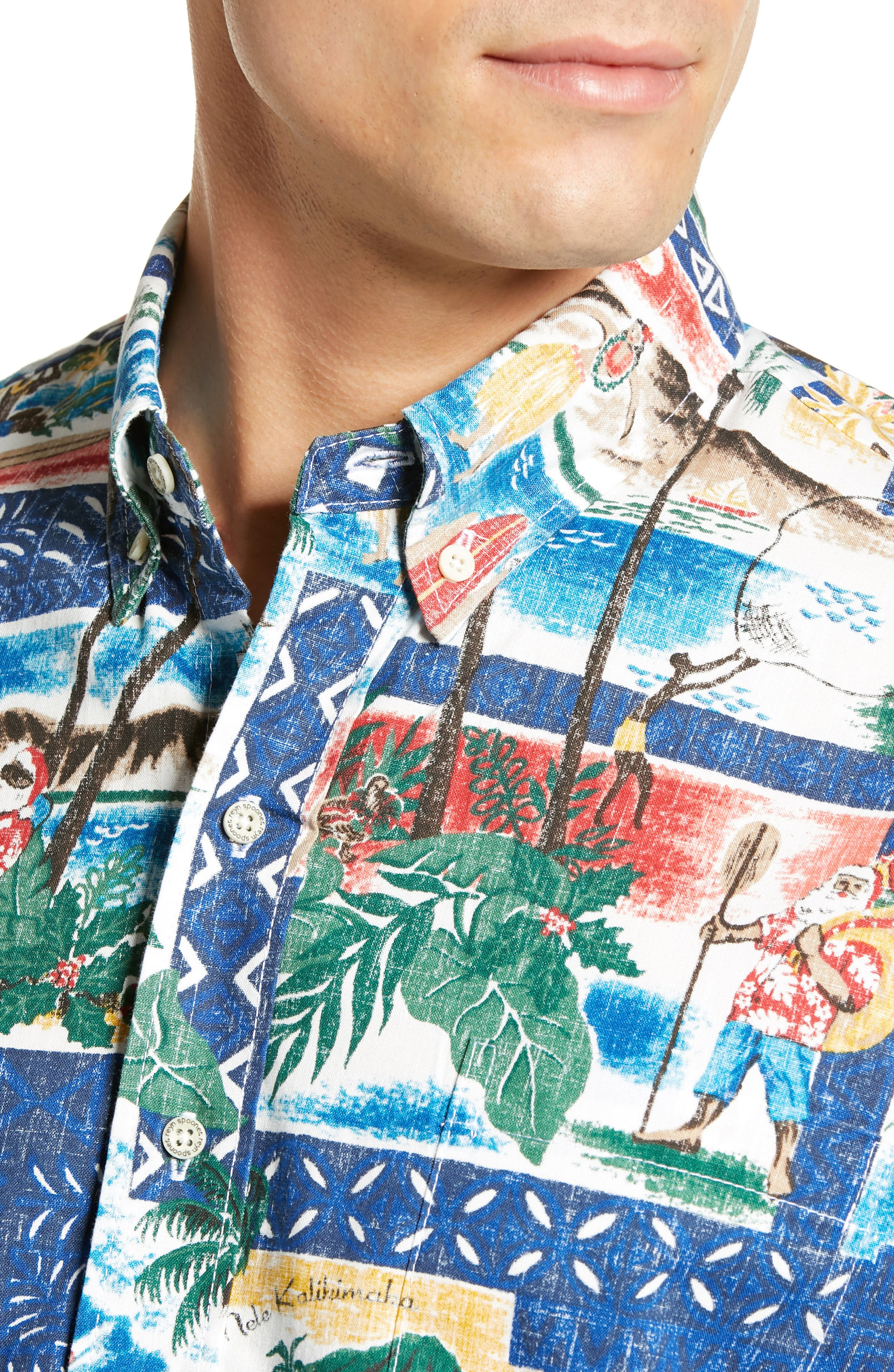 REYN SPOONER, Hawaiian Christmas 2018 Classic Fit Sport Shirt, Alternate thumbnail 2, color, 420