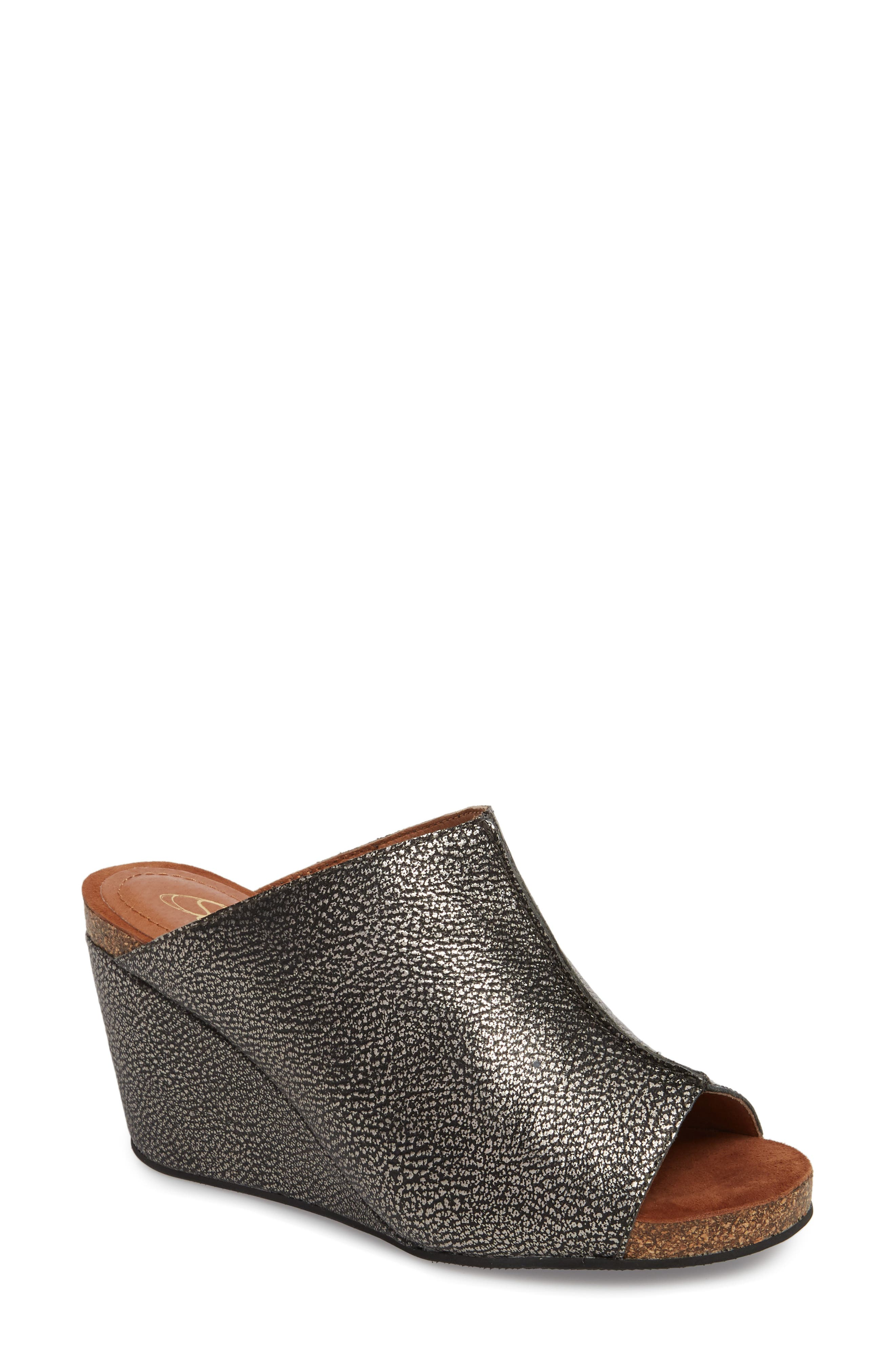 SUDINI, 'Bailey' Suede Wedge, Main thumbnail 1, color, PEWTER LEATHER