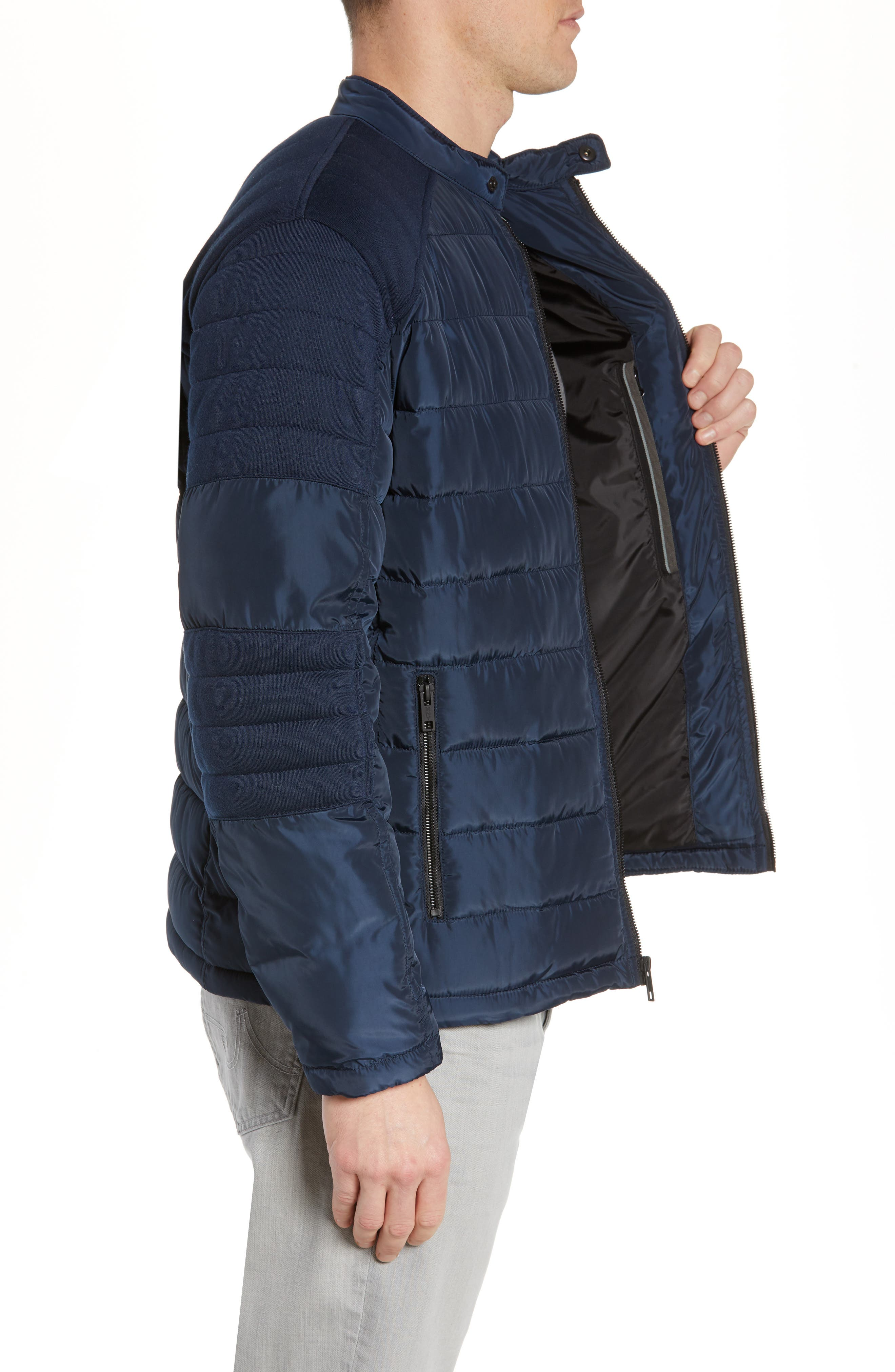 MARC NEW YORK, Wilsow Quilted Moto Jacket, Alternate thumbnail 3, color, NAVY