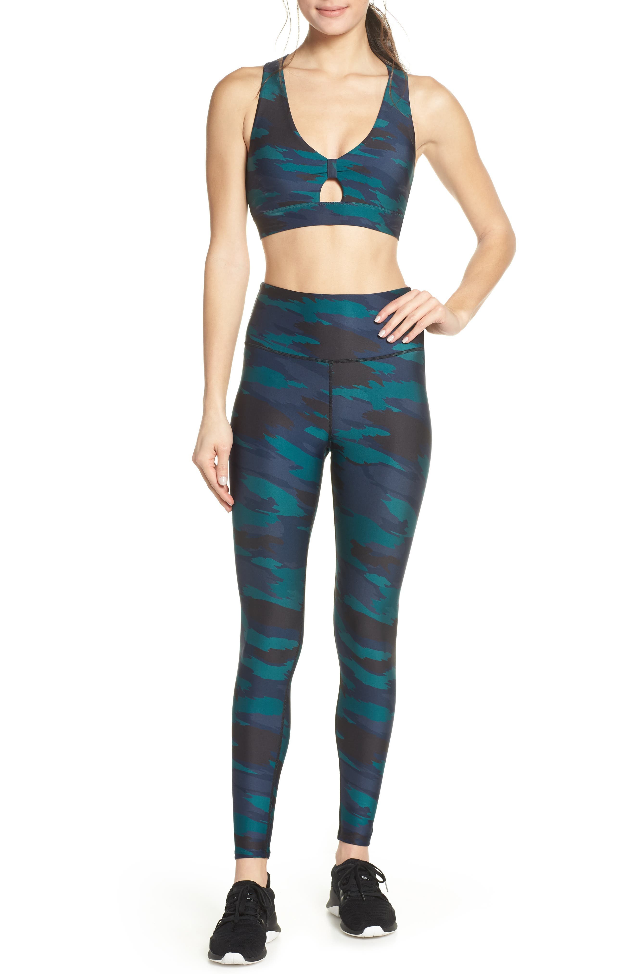 SOUL BY SOULCYCLE, High Waist Camo Tights, Alternate thumbnail 8, color, CAMO