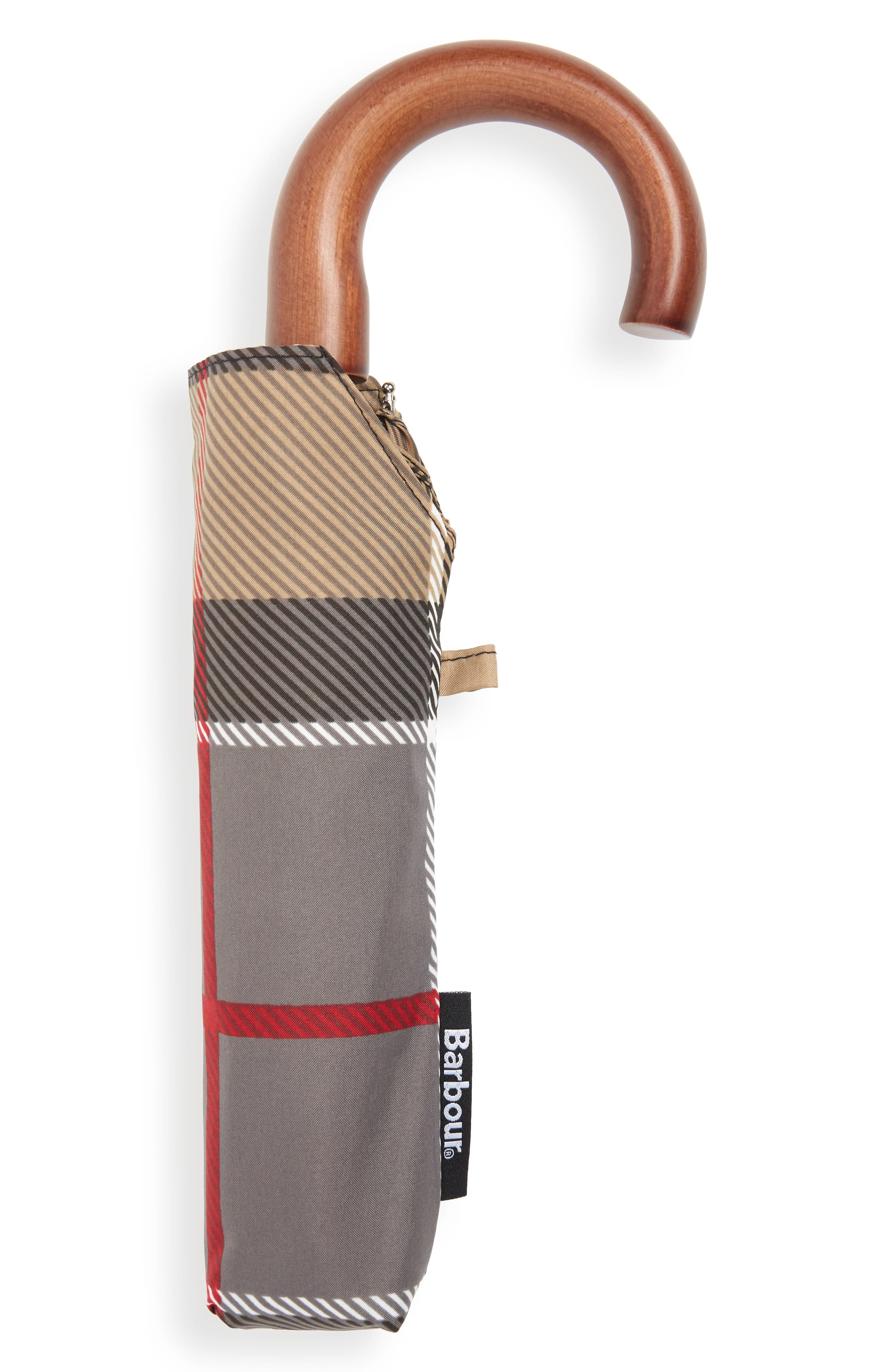 BARBOUR, Tartan Plaid Mini Umbrella, Alternate thumbnail 2, color, DRESS TARTAN