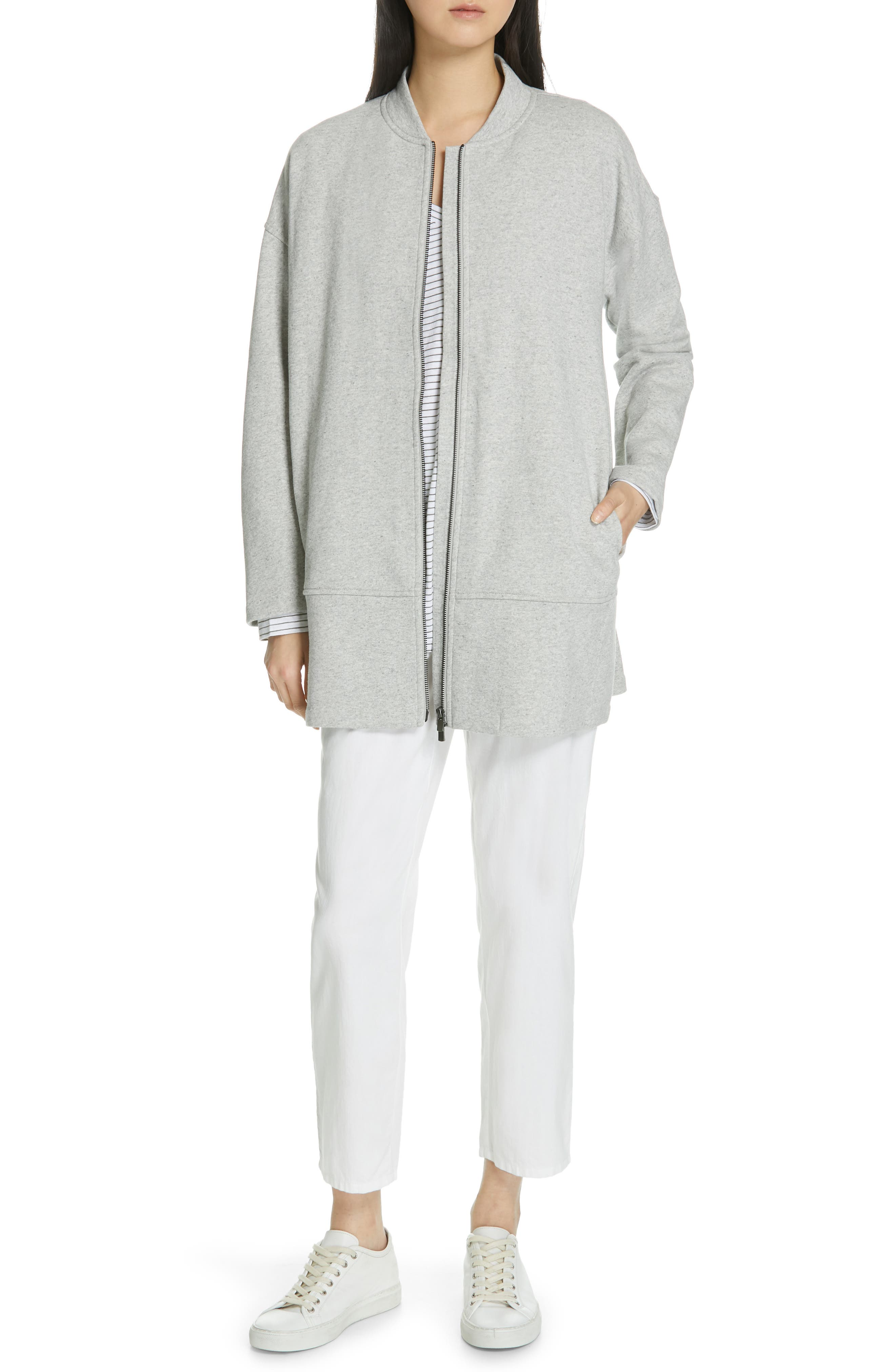 EILEEN FISHER, Brushed Back French Terry Jacket, Alternate thumbnail 8, color, DARK PEARL