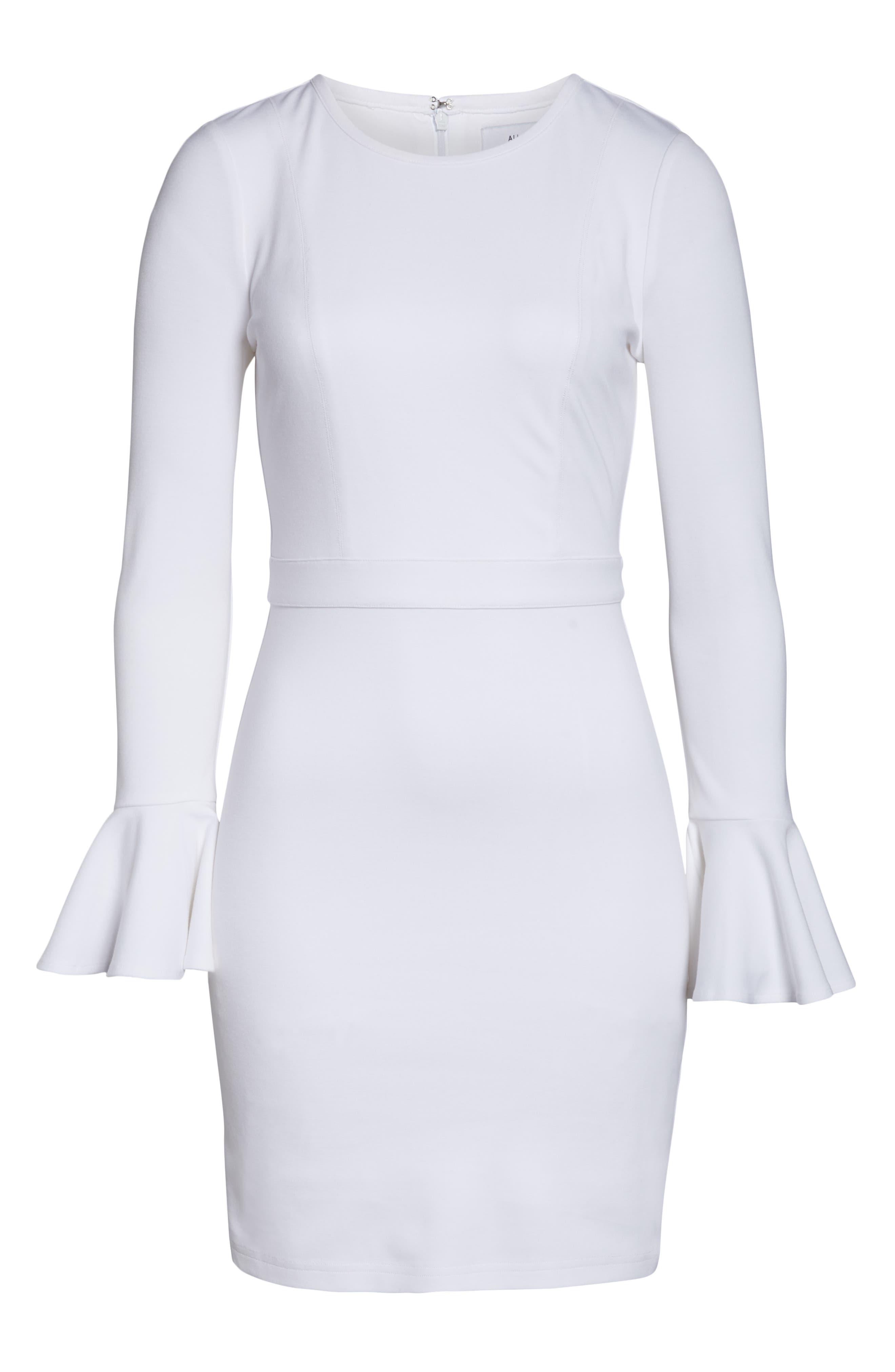 ALI & JAY, Pavillion Bell Cuff Sheath Dress, Alternate thumbnail 7, color, WHITE