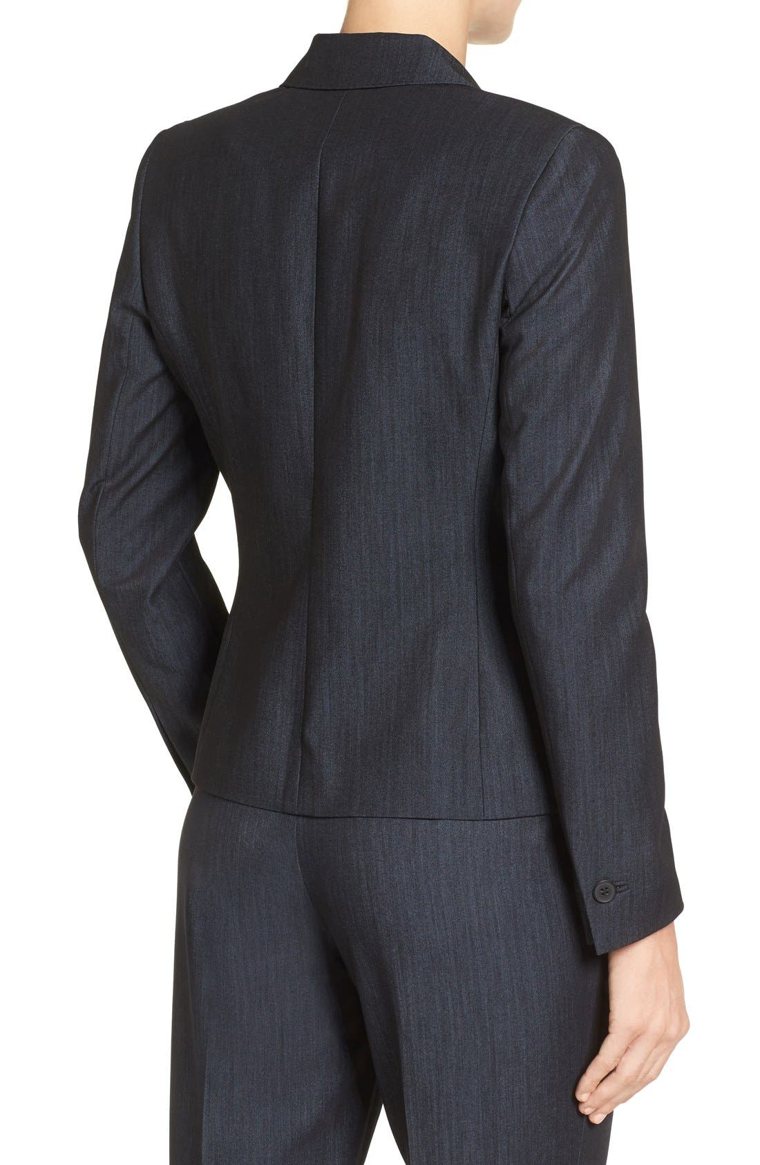 ANNE KLEIN, Twill One-Button Jacket, Alternate thumbnail 3, color, 400