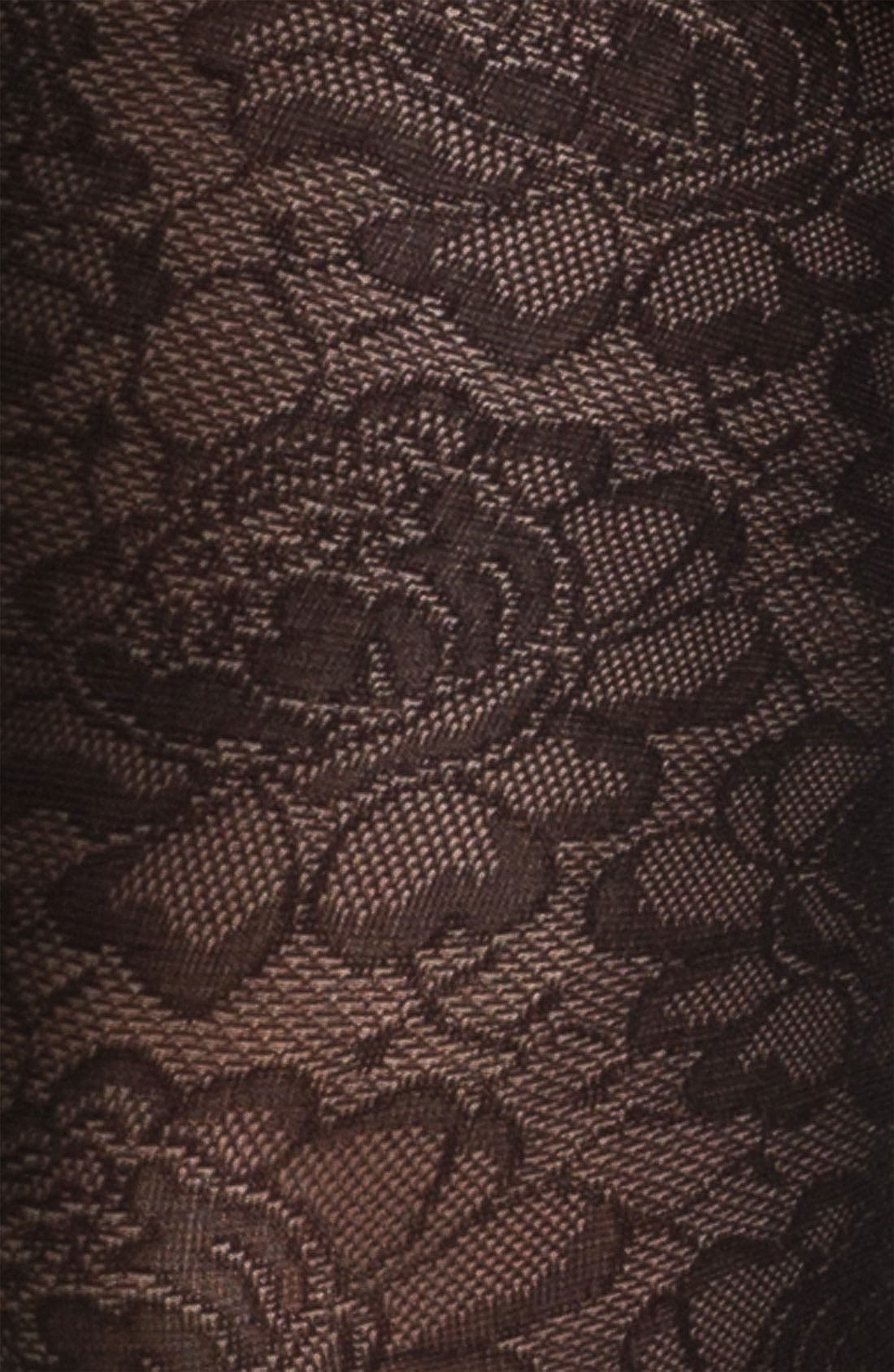 FRENCHI,  Floral Lace Tights, Alternate thumbnail 2, color, 001