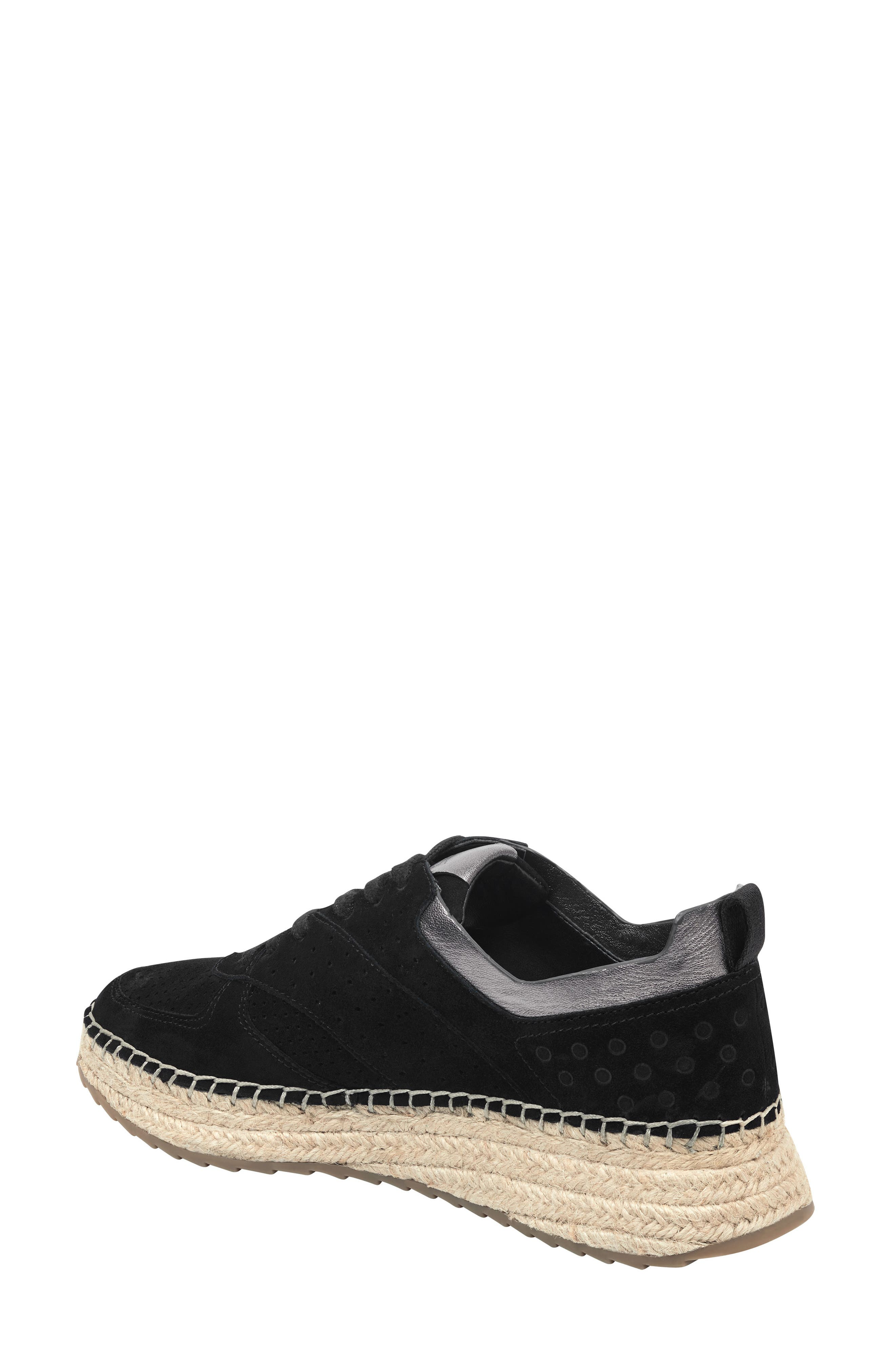 MARC FISHER LTD, Julio Sneaker, Alternate thumbnail 2, color, BLACK SUEDE