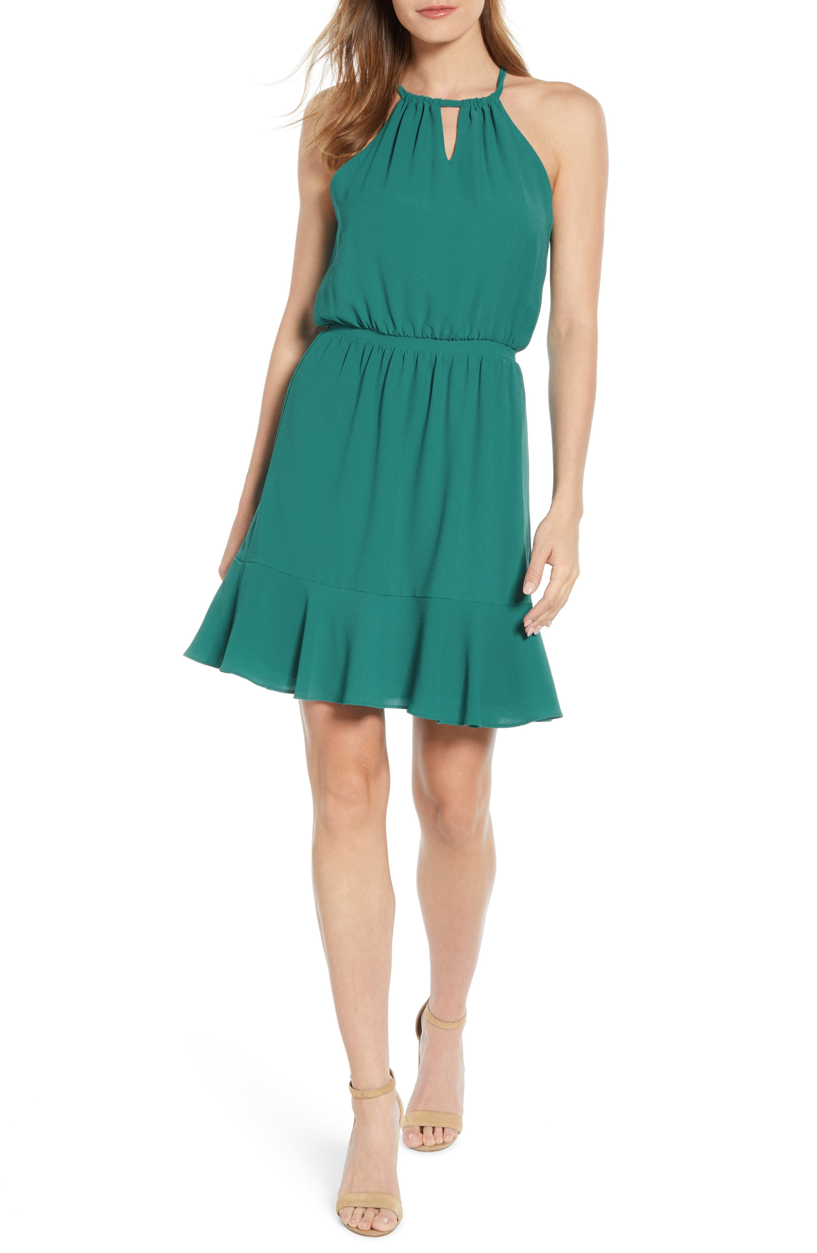 Petite Gibson X Living In Yellow Calla Keyhole Halter Neck Dress, Green