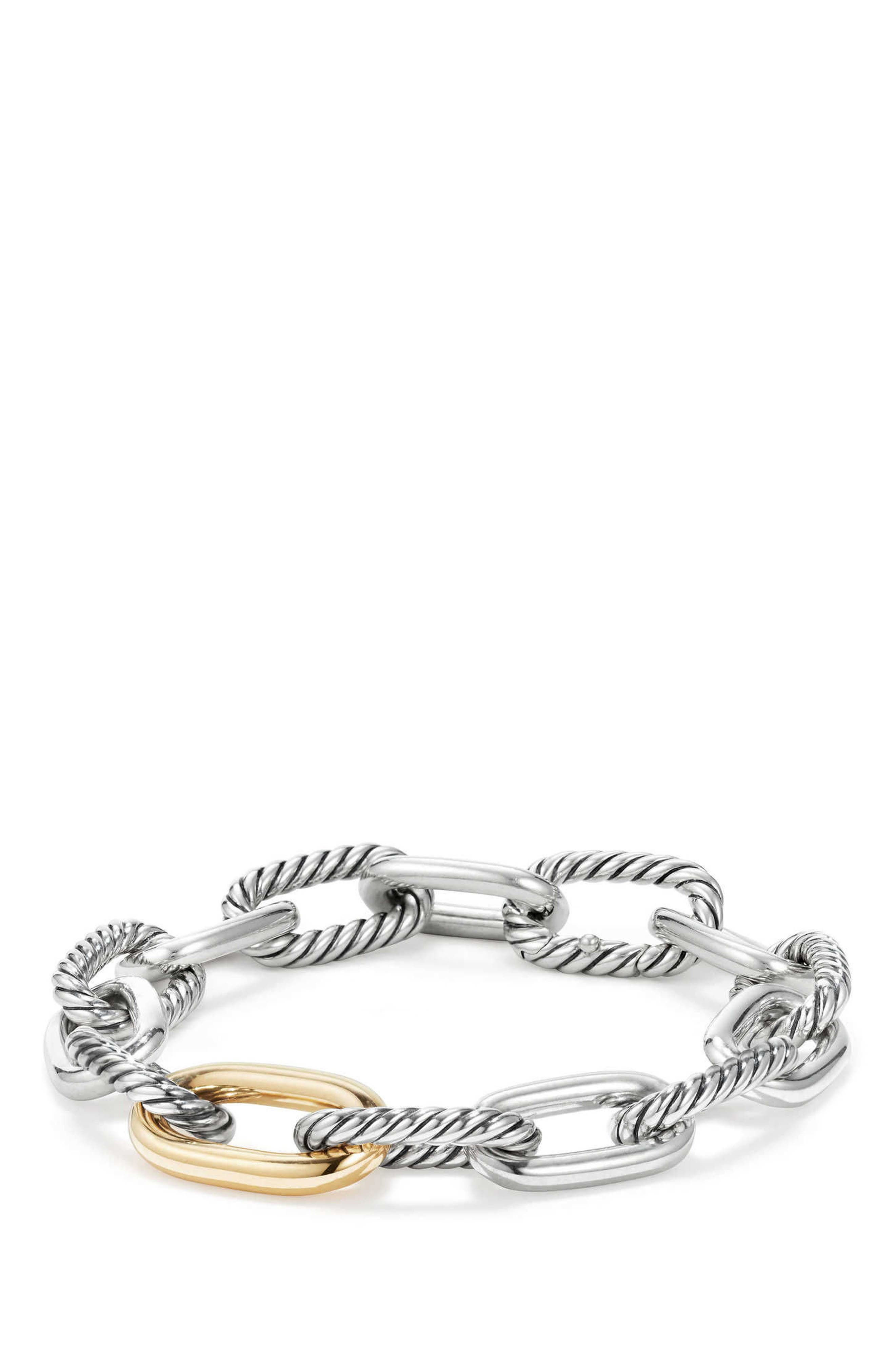 DAVID YURMAN, DY Madison Chain Medium Bracelet, Main thumbnail 1, color, GOLD/ SILVER