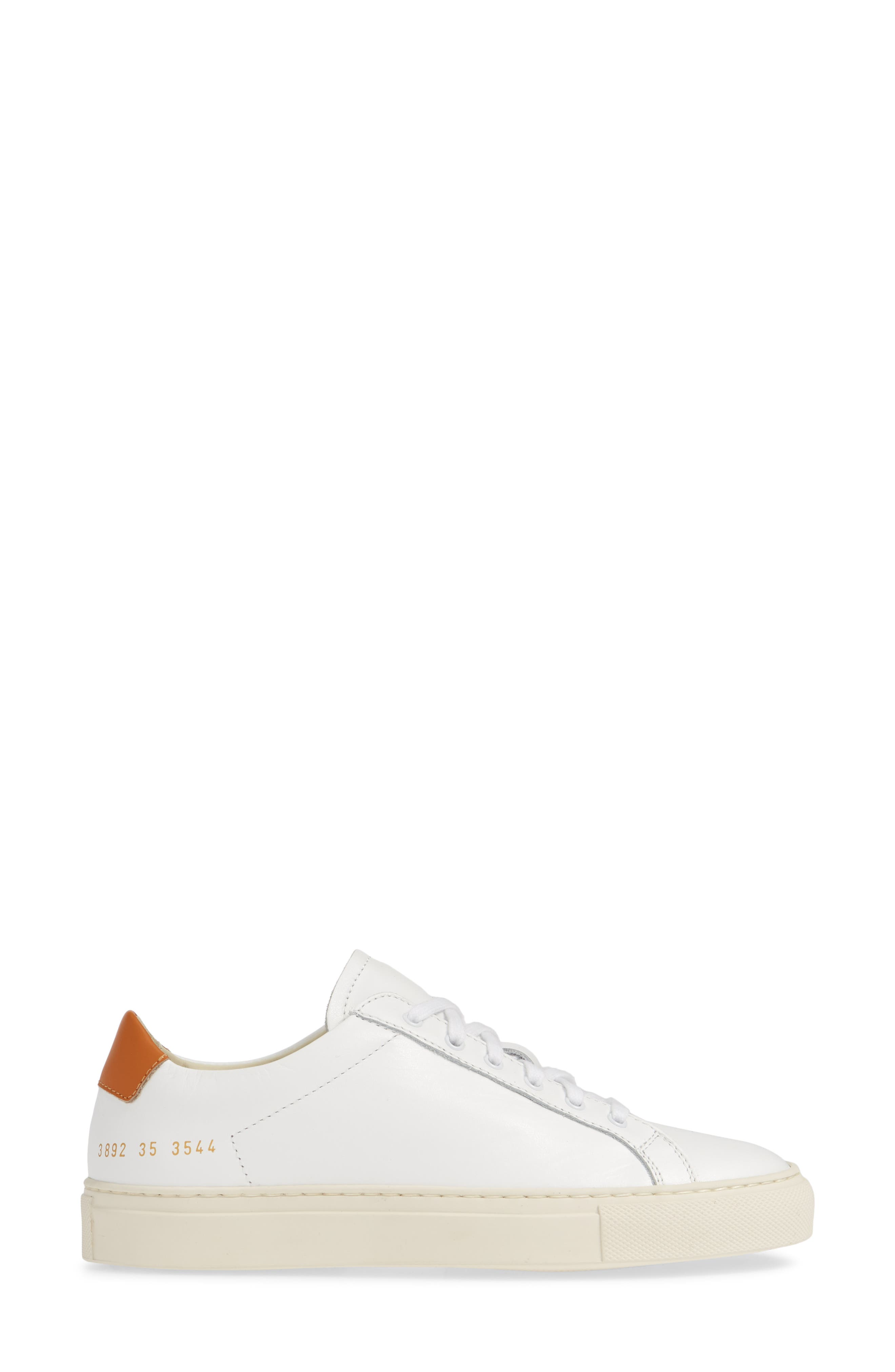 COMMON PROJECTS, Retro Low Top Sneaker, Alternate thumbnail 3, color, WHITE/ BROWN