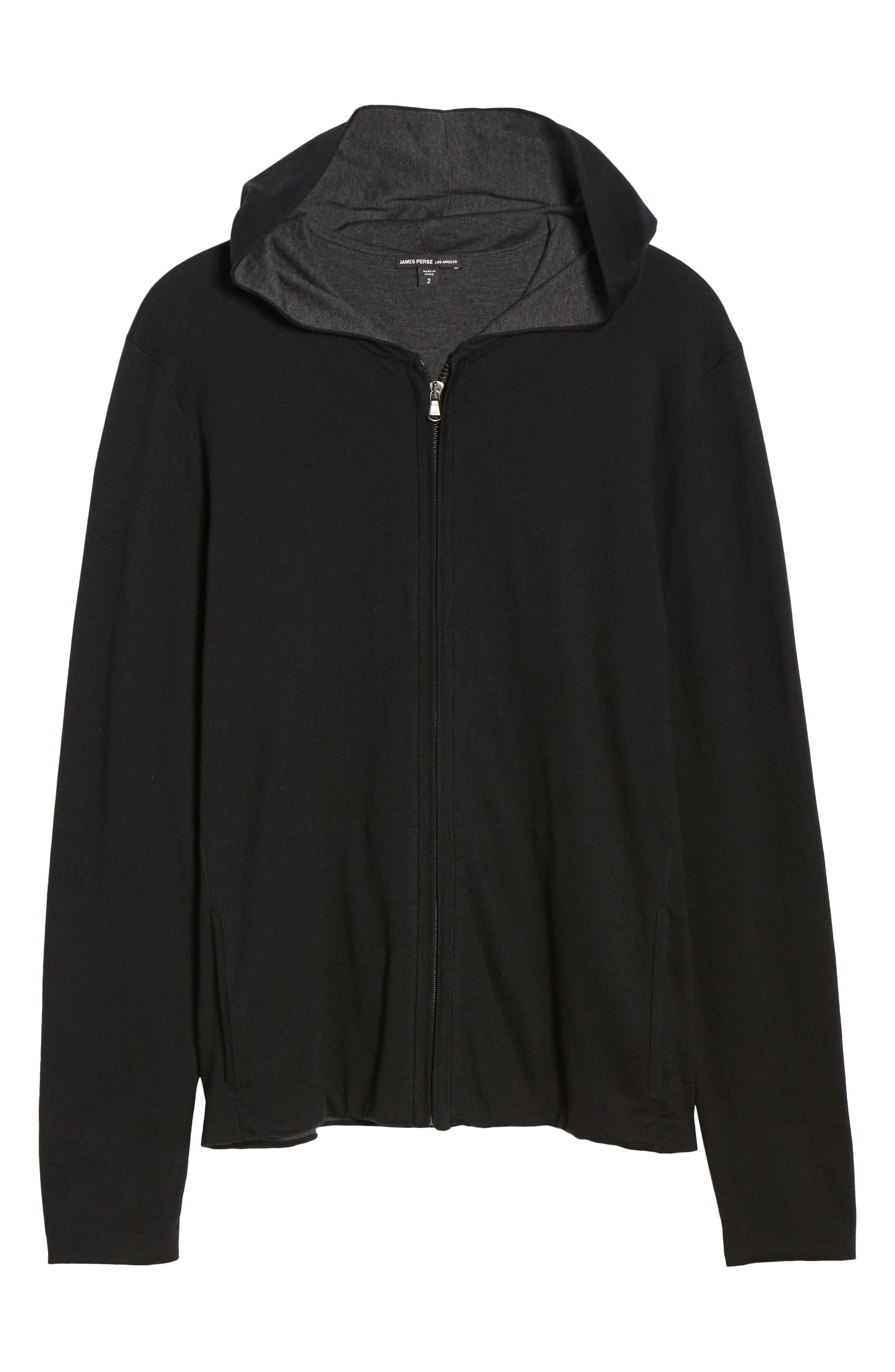 JAMES PERSE, Double Layer Full Zip Hoodie, Alternate thumbnail 6, color, 003