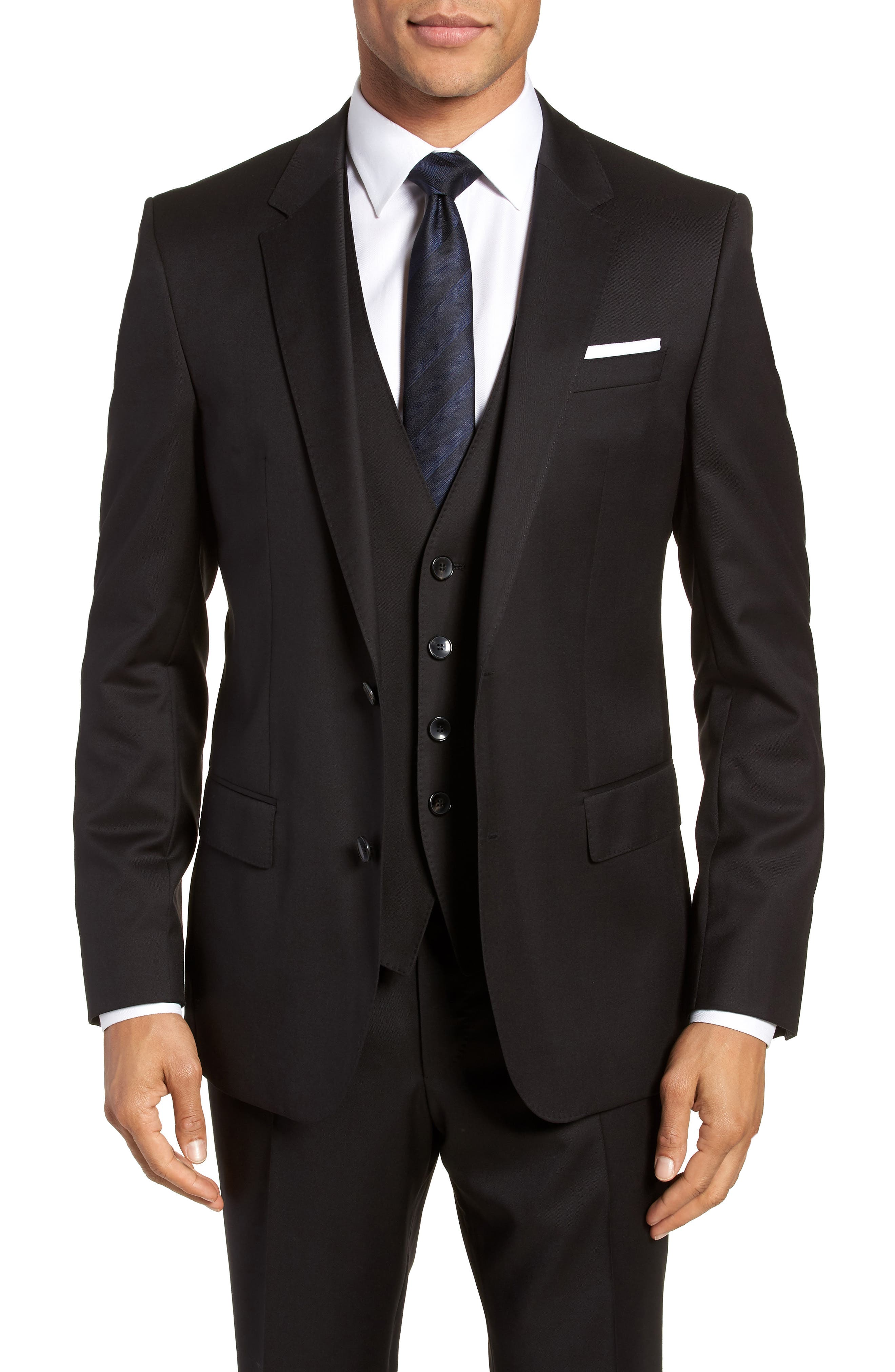 BOSS, Hayes CYL Slim Fit Solid Wool Sport Coat, Main thumbnail 1, color, BLACK