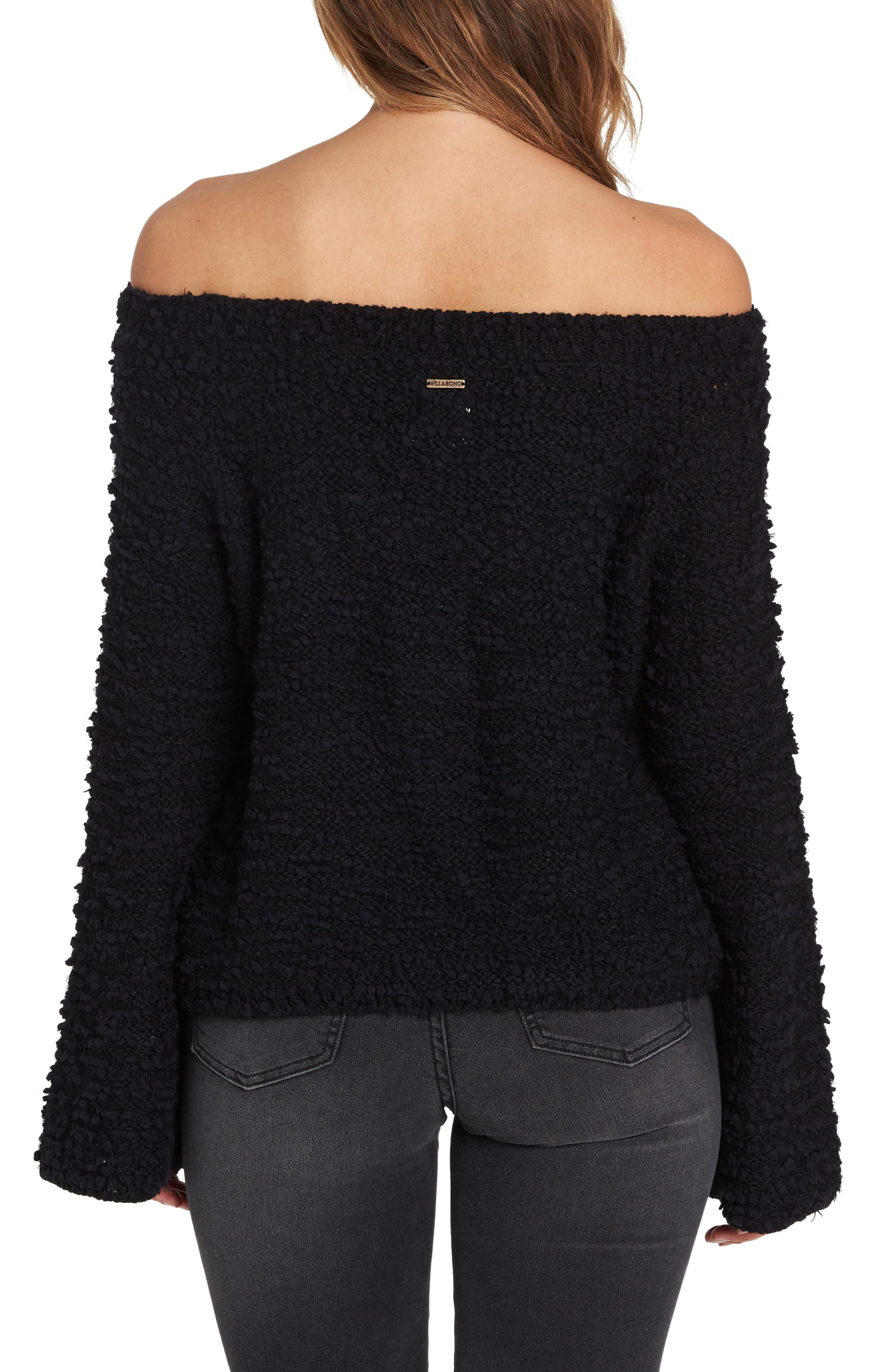 BILLABONG, Off the Beat Off the Shoulder Sweater, Alternate thumbnail 2, color, 001