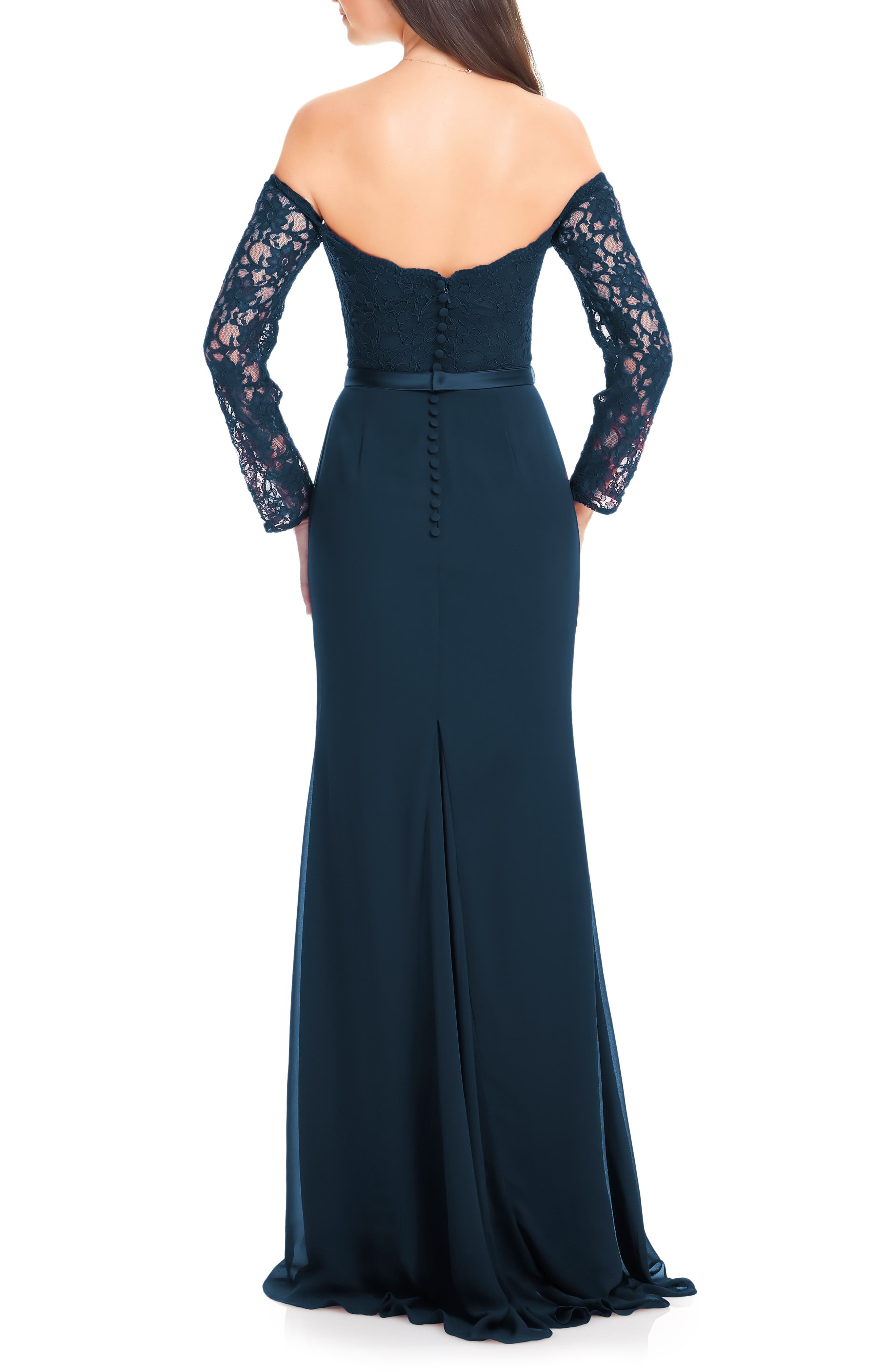 #LEVKOFF, Off the Shoulder Three-Quarter Sleeve Gown, Alternate thumbnail 2, color, NAVY