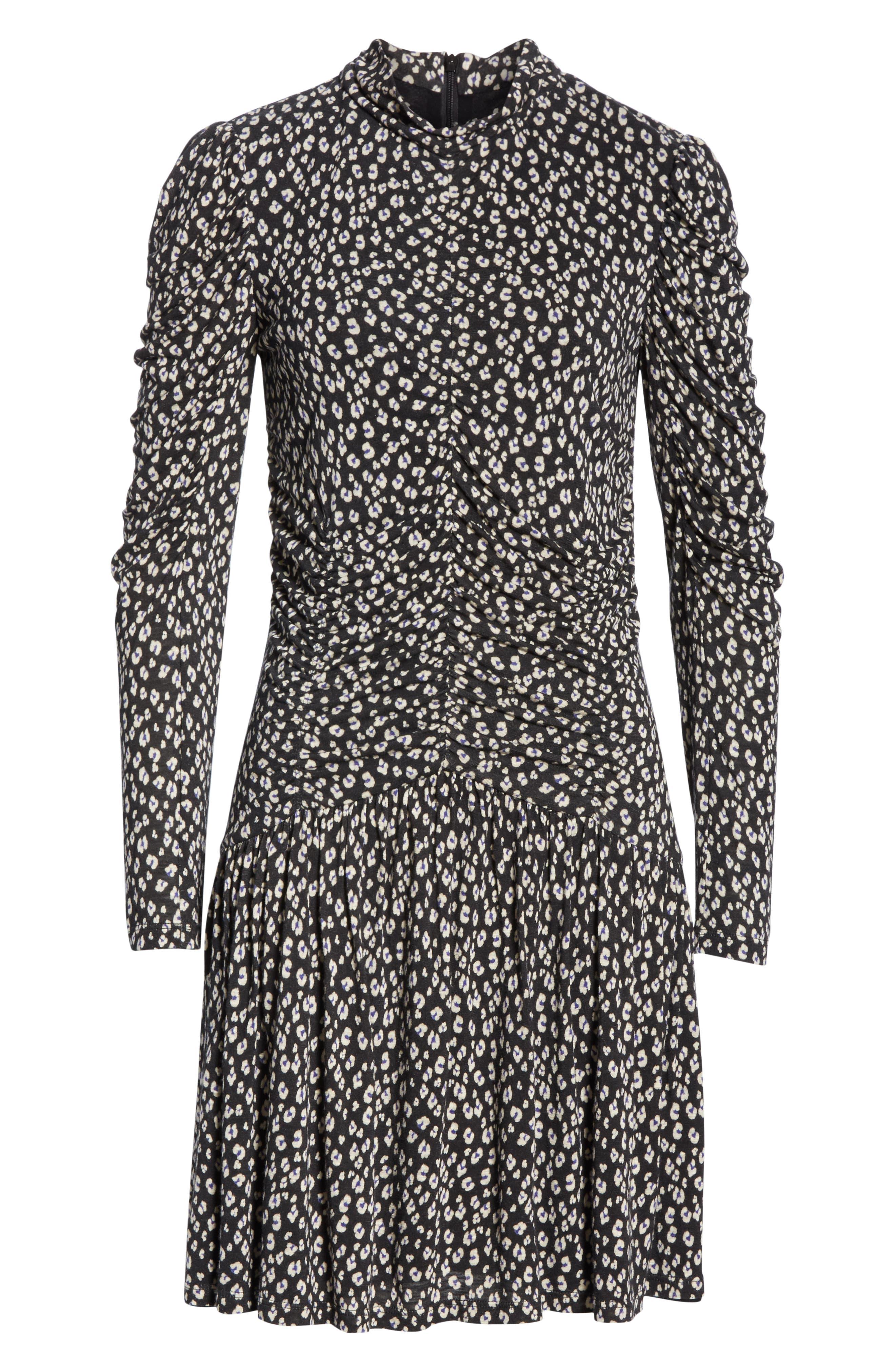 REBECCA TAYLOR, Cheetah Ruched Jersey Dress, Alternate thumbnail 6, color, 014