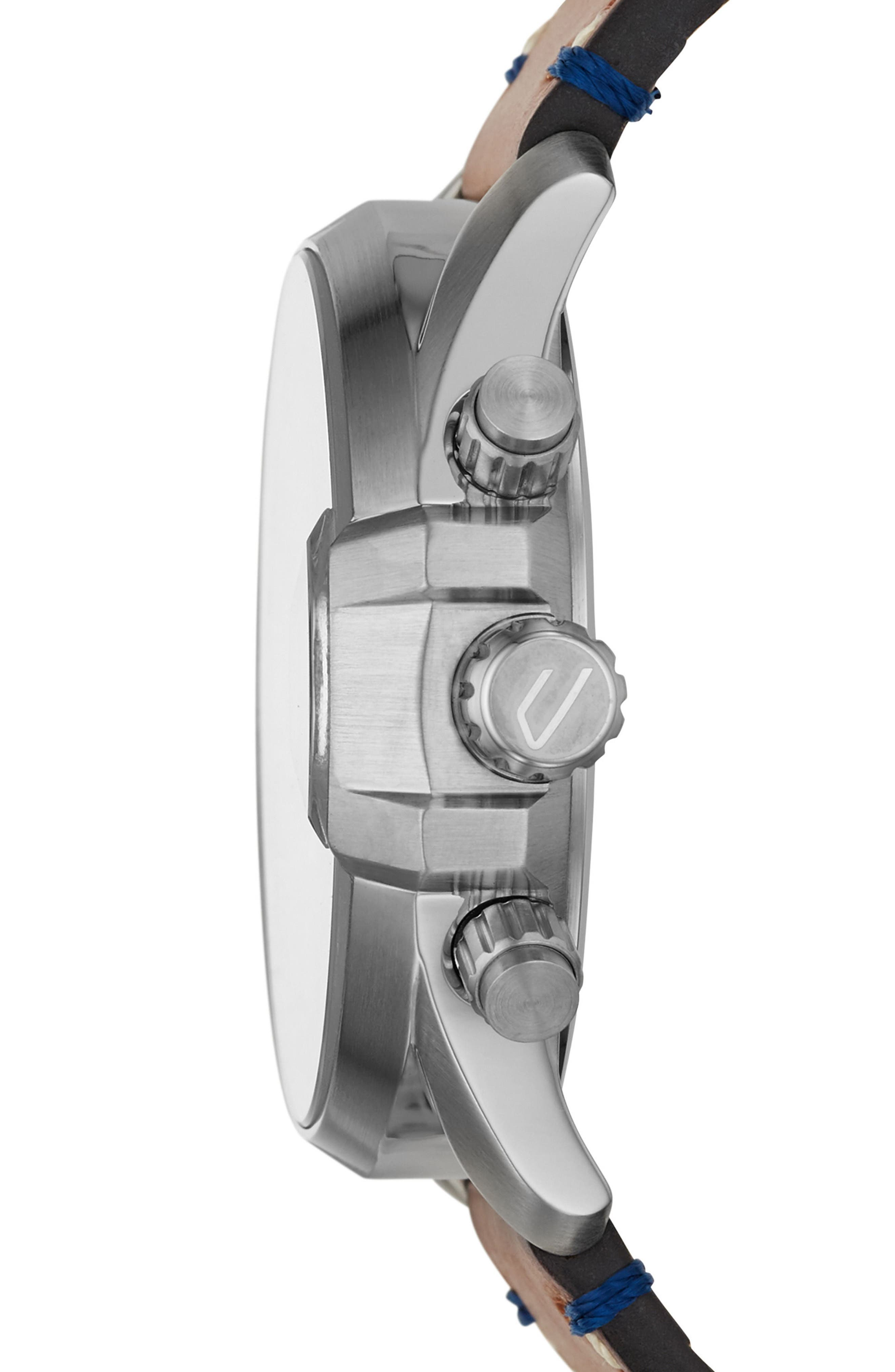 DIESEL<SUP>®</SUP>, MS9 Chronograph Strap Watch, 47mm, Alternate thumbnail 2, color, BLUE/ BROWN