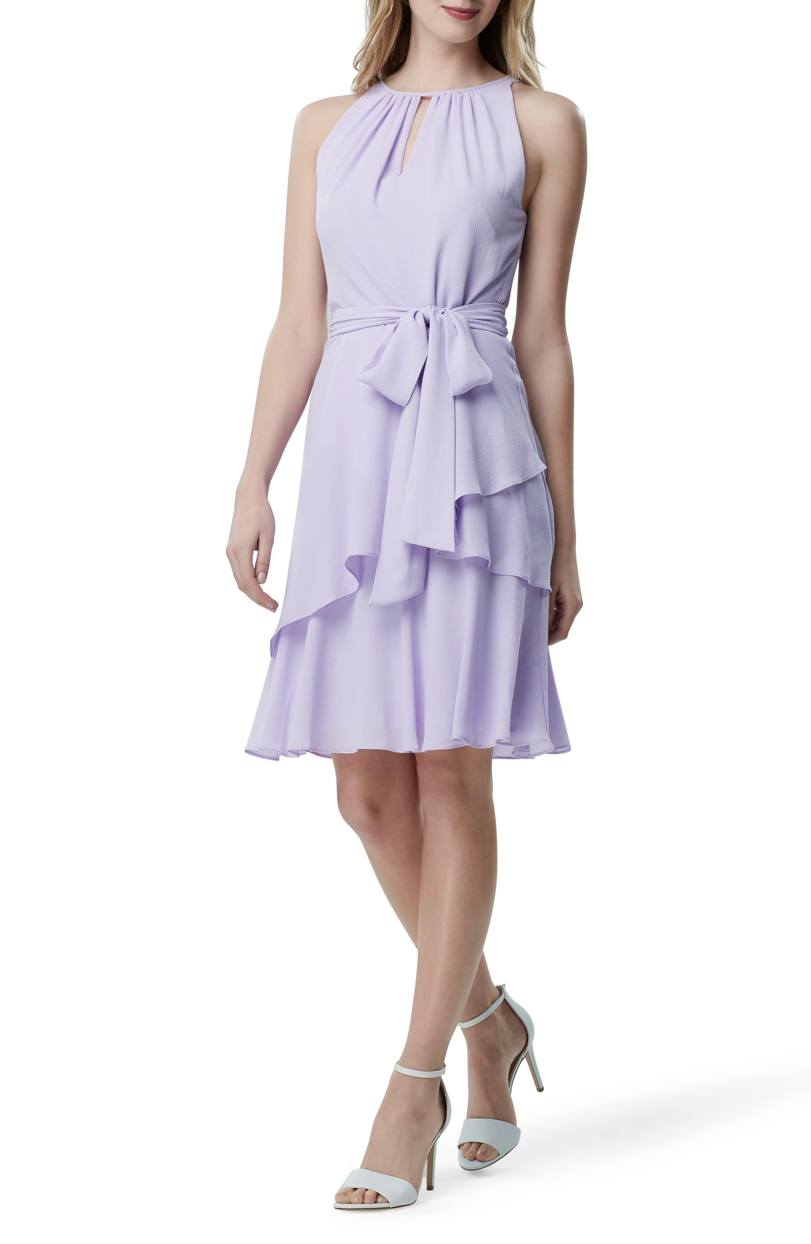 Tahari Hilton Tiered Ruffle Sleeveless Crepe Dress, Purple