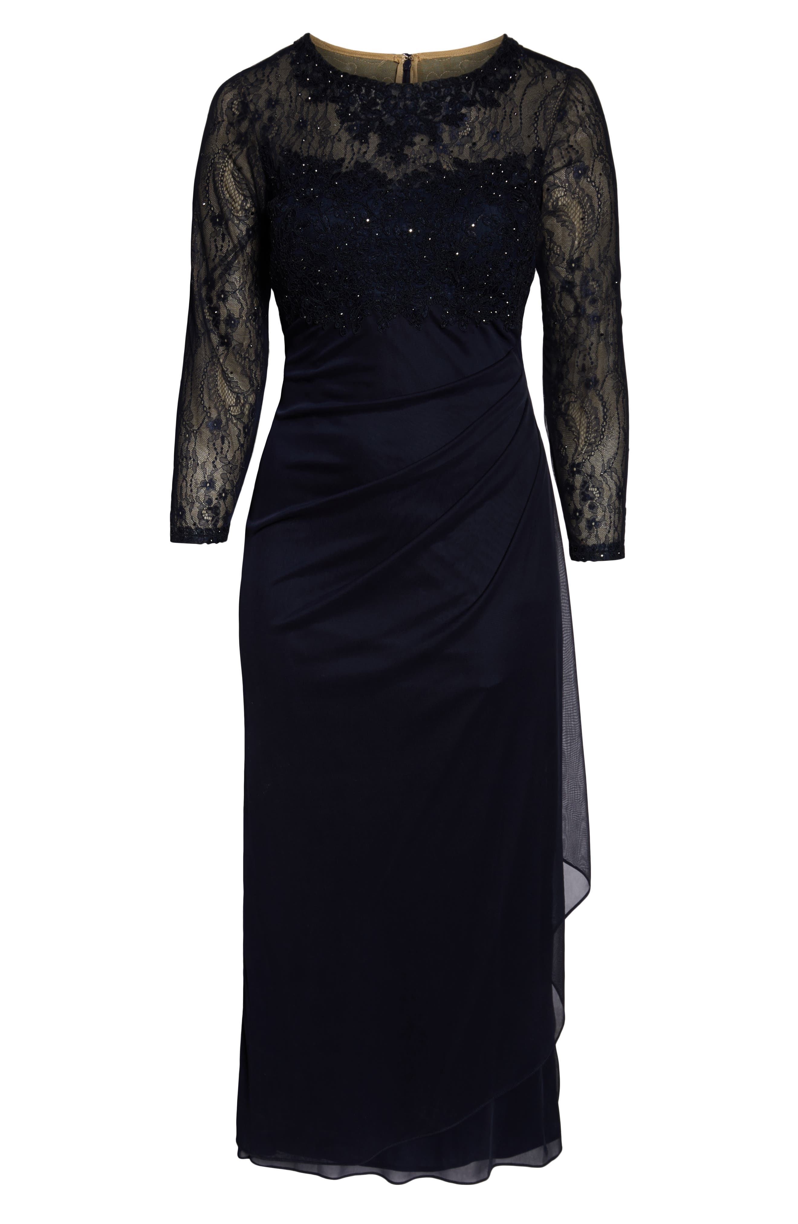 XSCAPE, Lace Bodice Ruched Evening Dress, Alternate thumbnail 3, color, NAVY