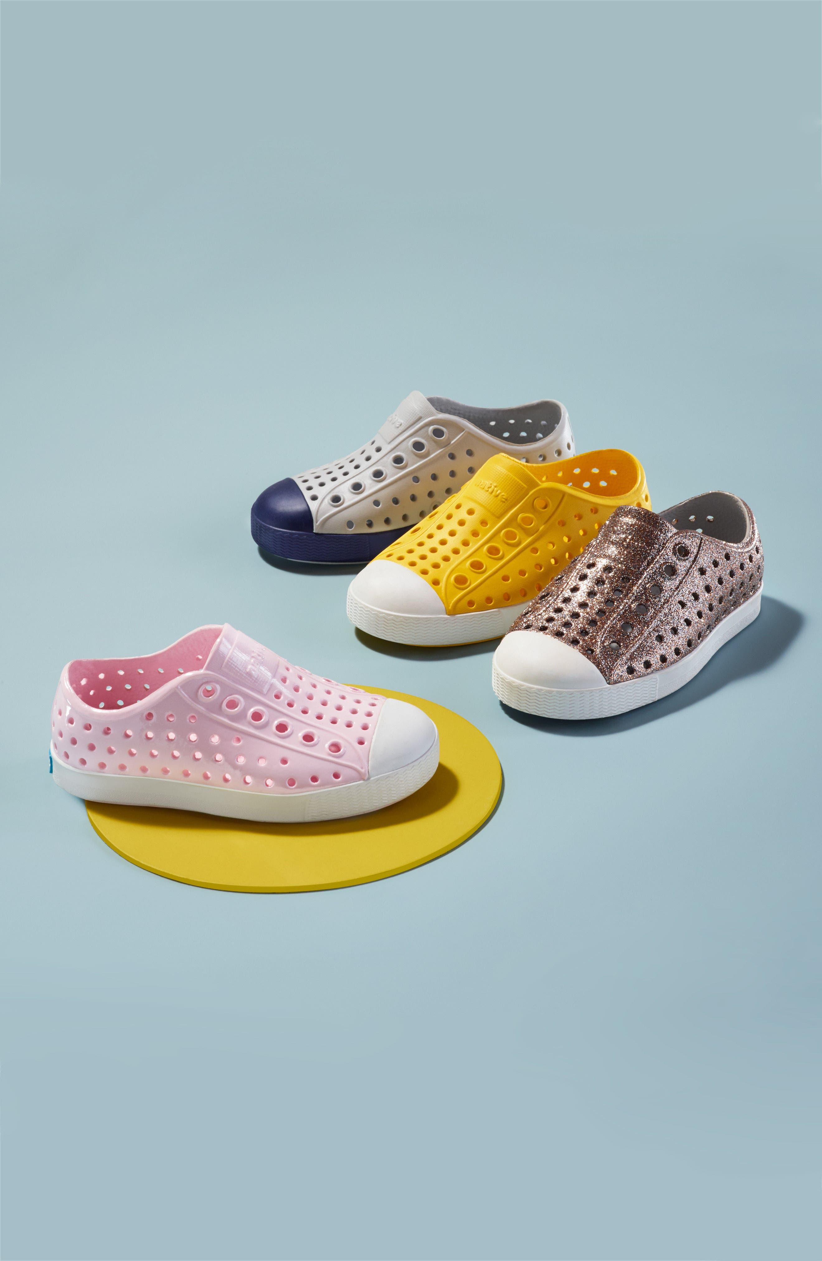 NATIVE SHOES, Jefferson Bling Glitter Slip-On Vegan Sneaker, Alternate thumbnail 9, color, SAKURA BLING/ SHELL WHITE
