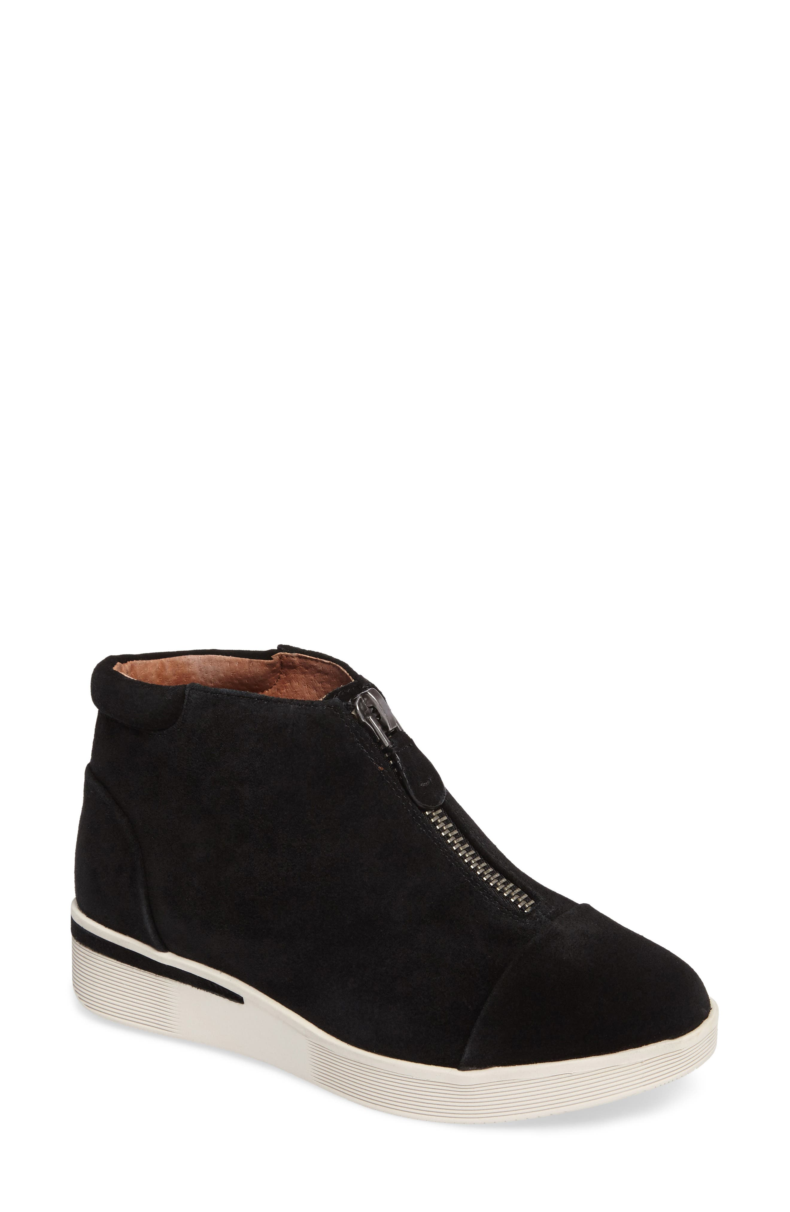 GENTLE SOULS BY KENNETH COLE, Hazel Fay High Top Sneaker, Main thumbnail 1, color, BLACK SUEDE