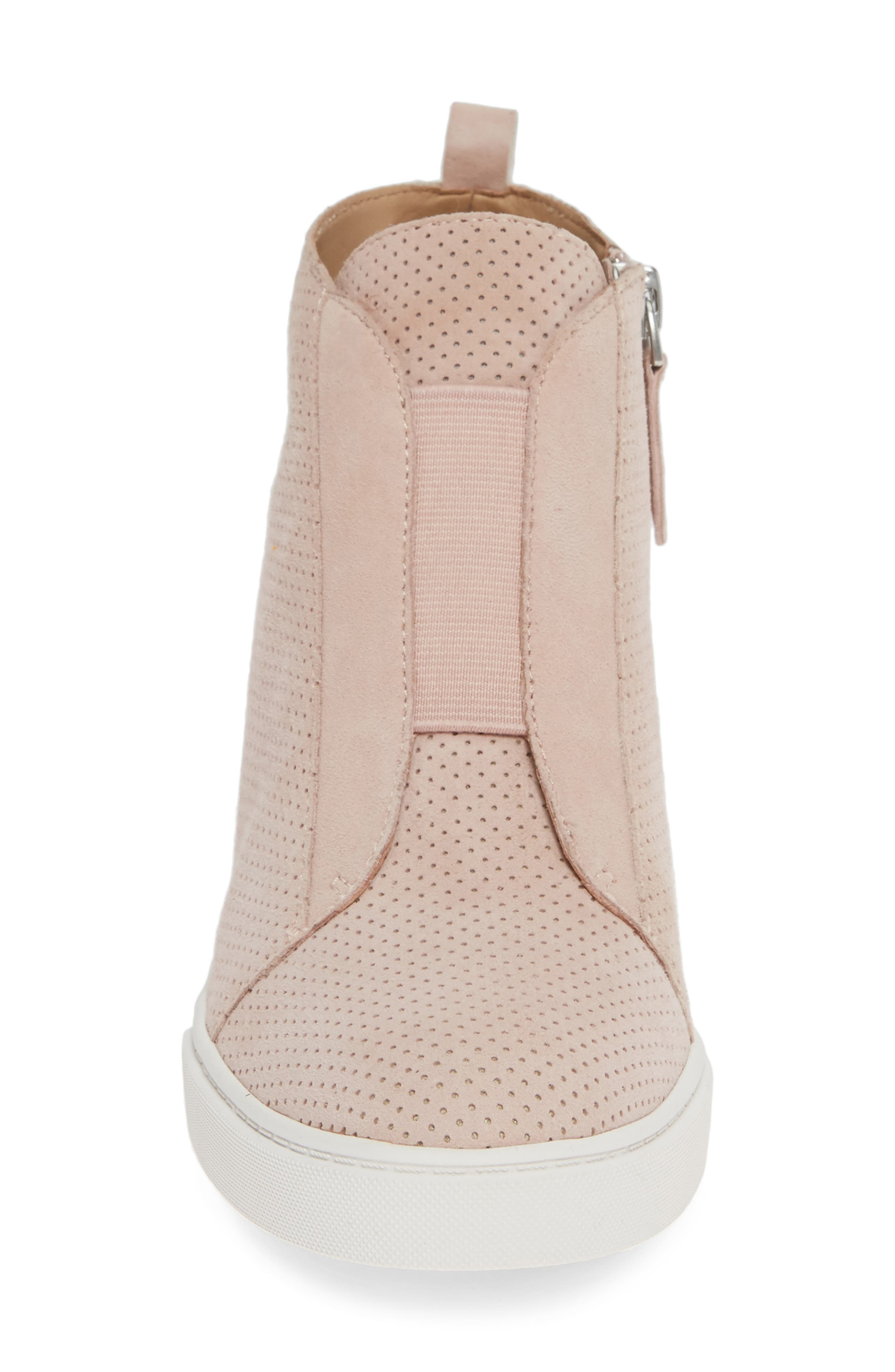 LINEA PAOLO, Felicia Wedge Bootie, Alternate thumbnail 4, color, BLUSH PERFORATED SUEDE