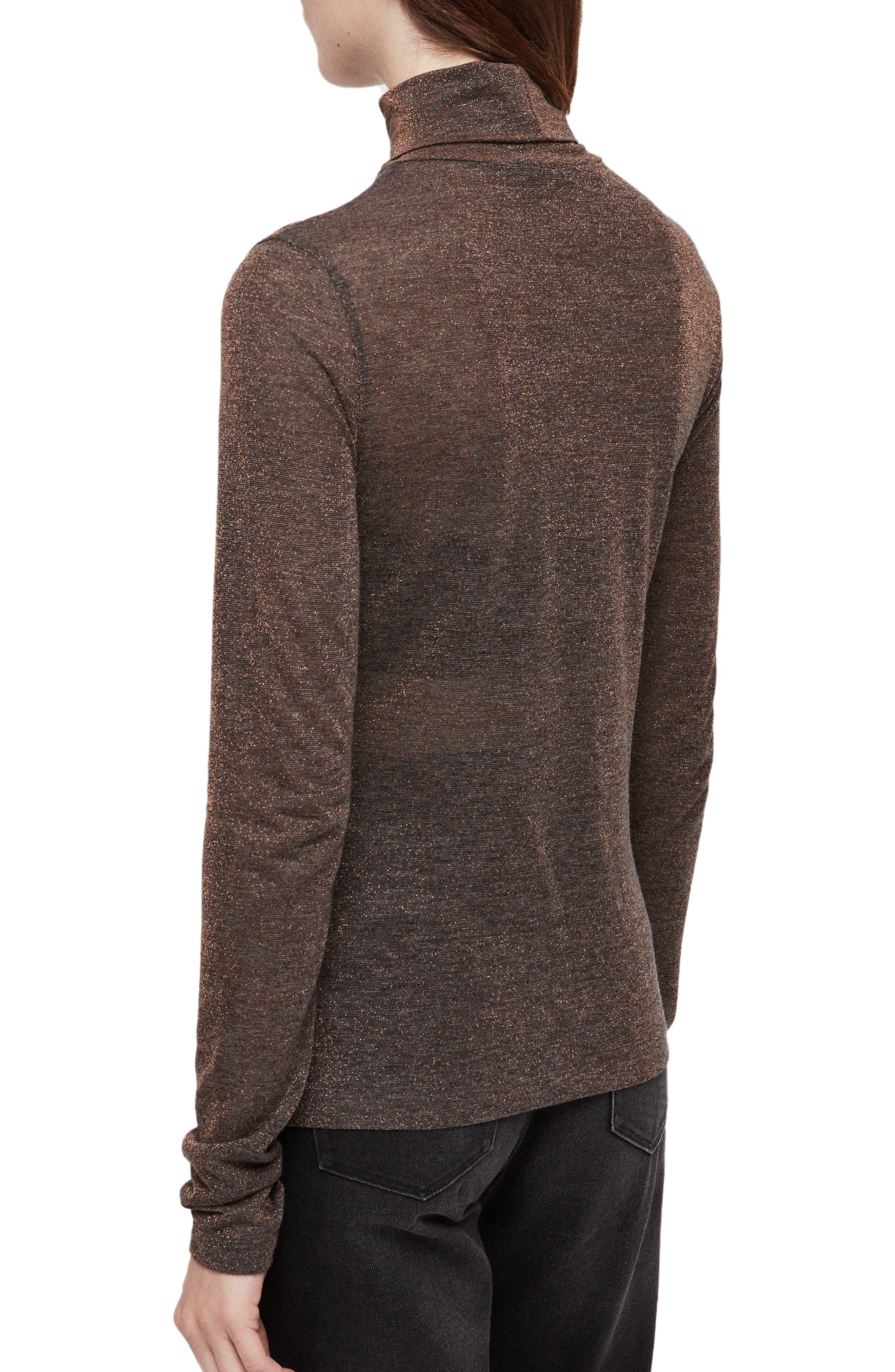 ALLSAINTS, Esme Turtleneck Sweater, Alternate thumbnail 2, color, BLACK