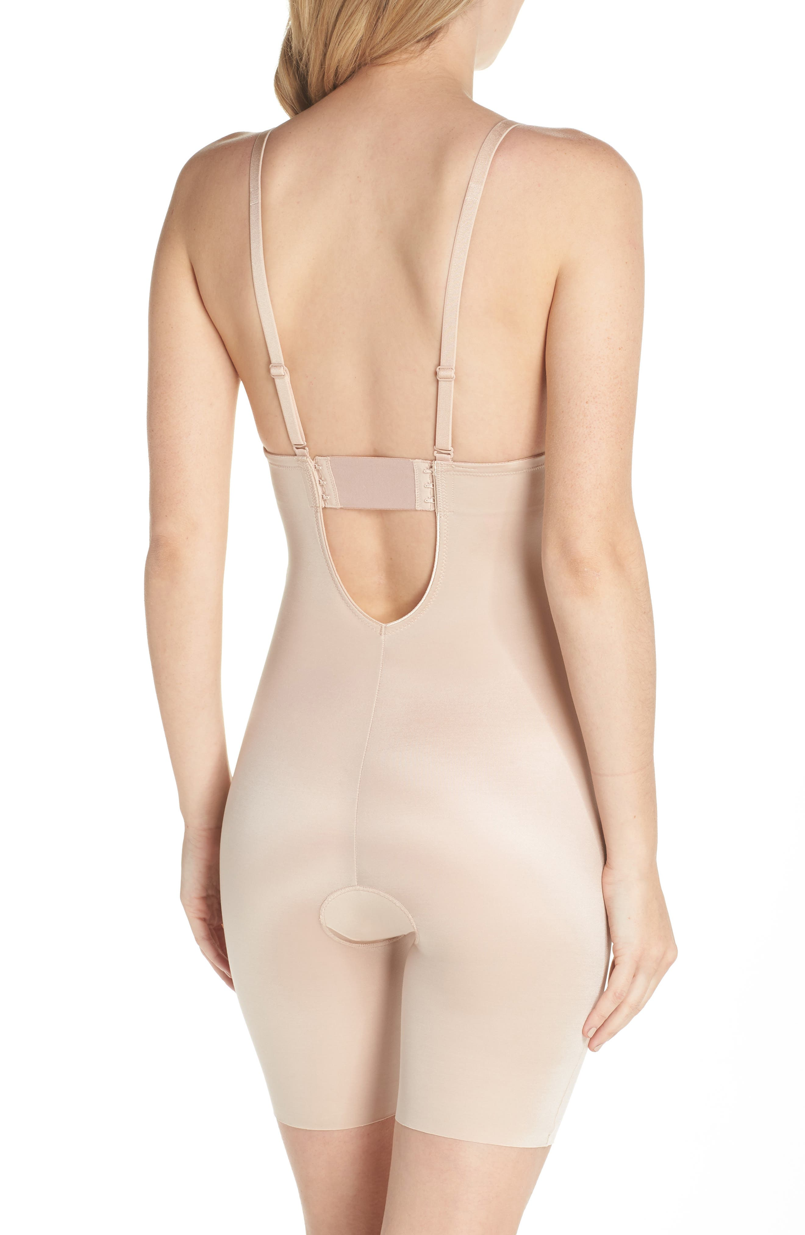 SPANX<SUP>®</SUP>, Suit Your Fancy Plunge Low-Back Mid-Thigh Bodysuit, Alternate thumbnail 3, color, CHAMPAGNE BEIGE