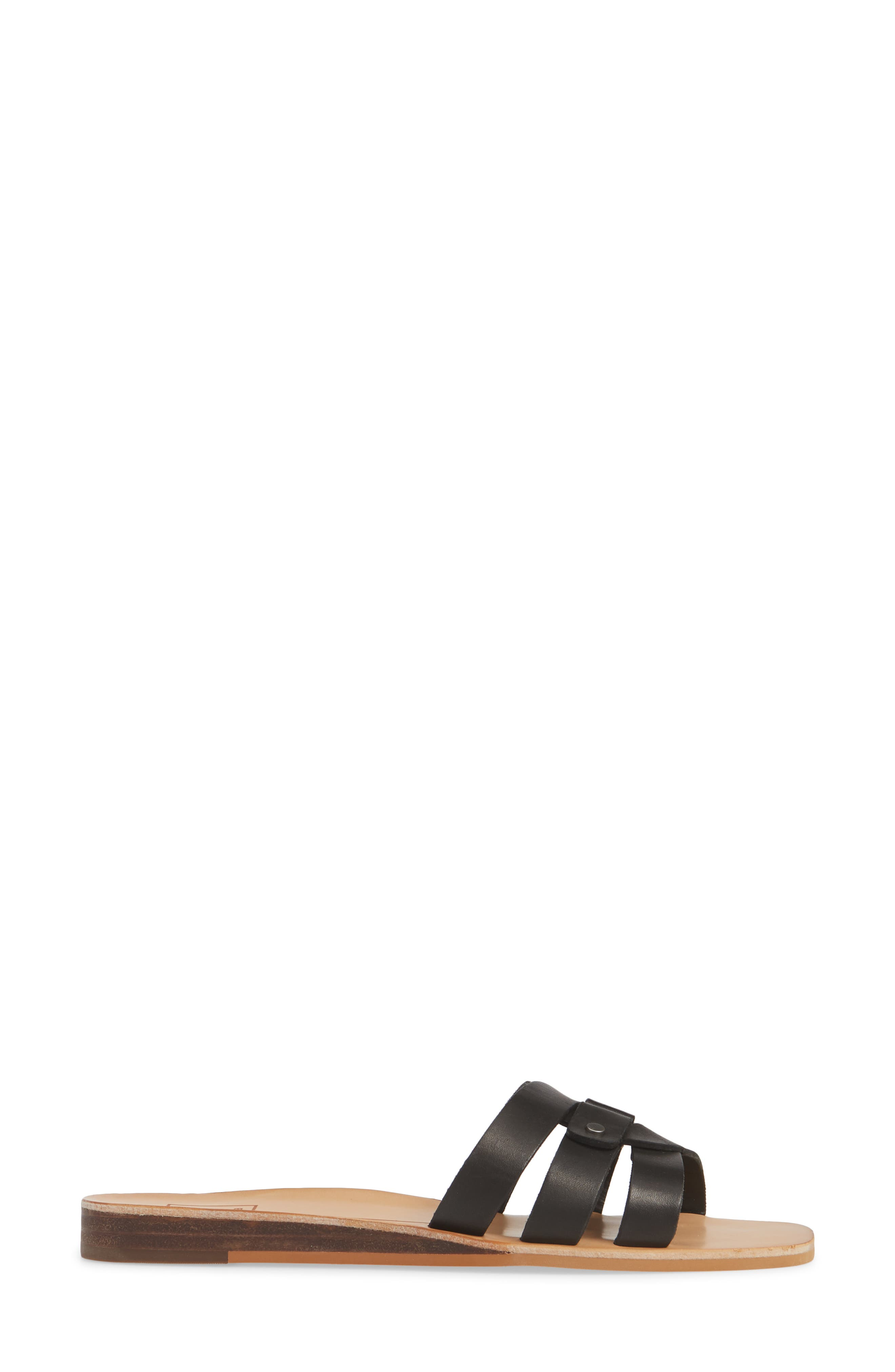 DOLCE VITA, Cait Slide Sandal, Alternate thumbnail 3, color, BLACK LEATHER