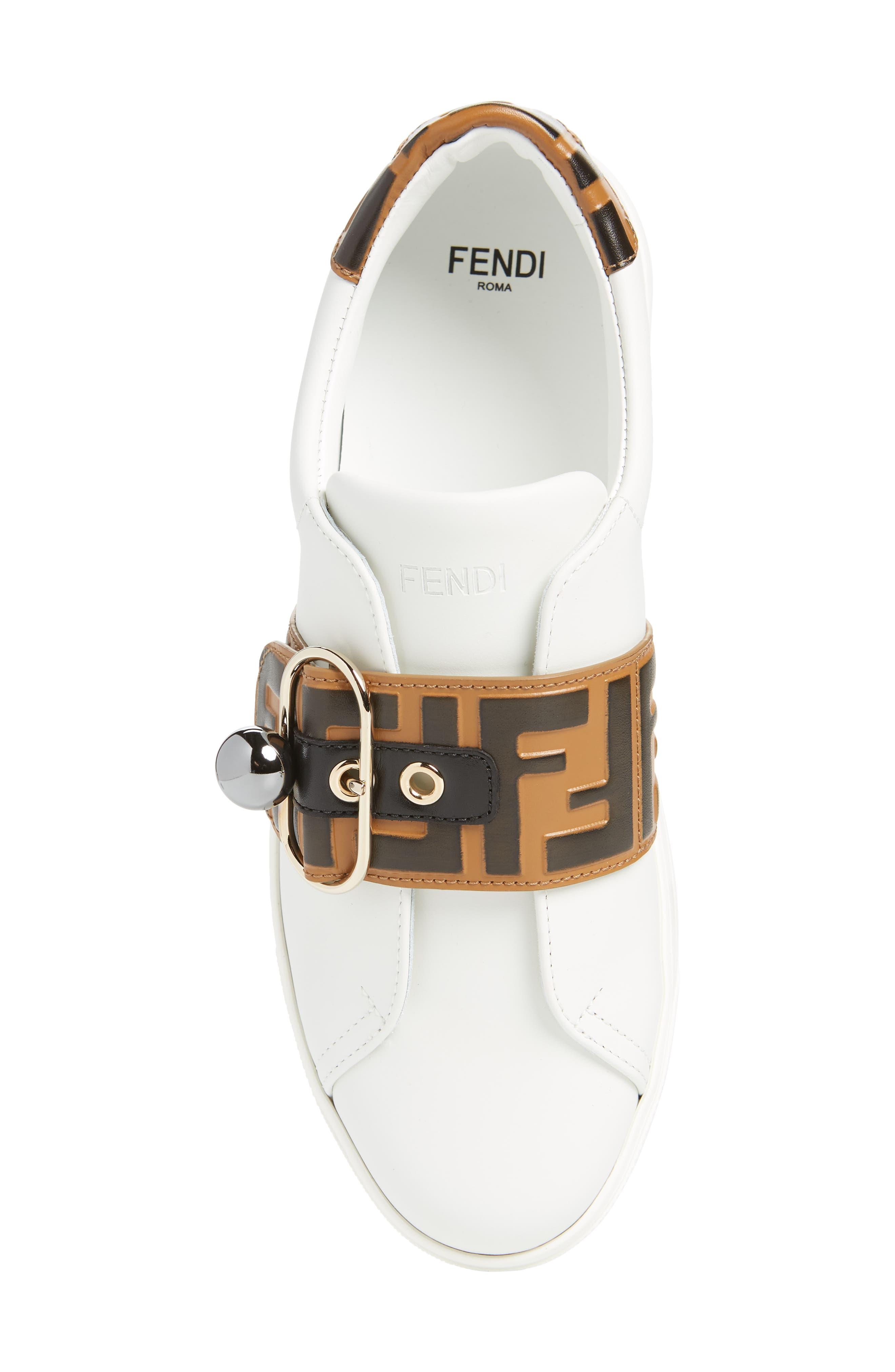 FENDI, Pearland Logo Slip-On Sneaker, Alternate thumbnail 5, color, WHITE/ BROWN