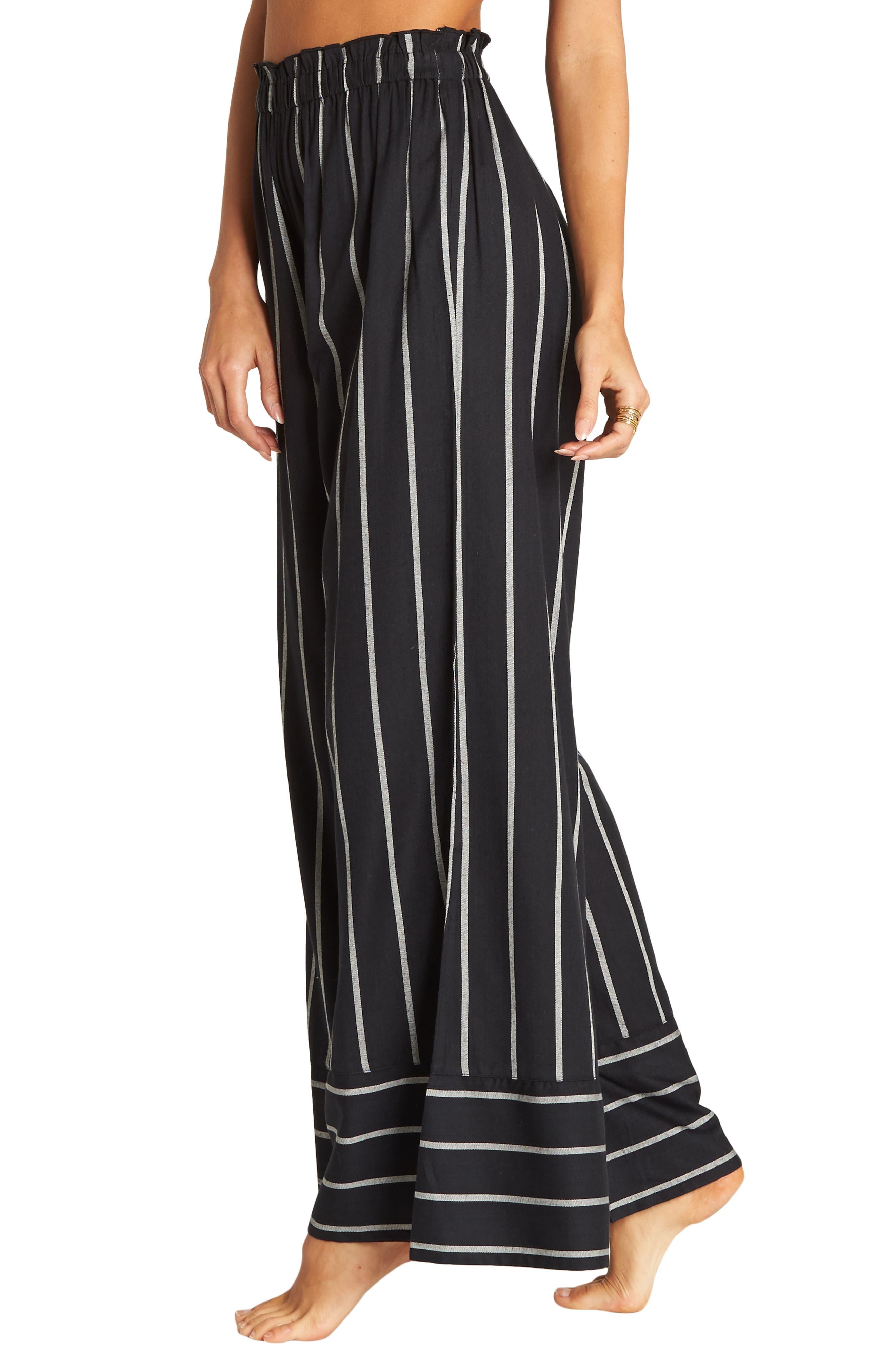 BILLABONG, Flip Out Stripe Wide Leg Pants, Main thumbnail 1, color, BLACK