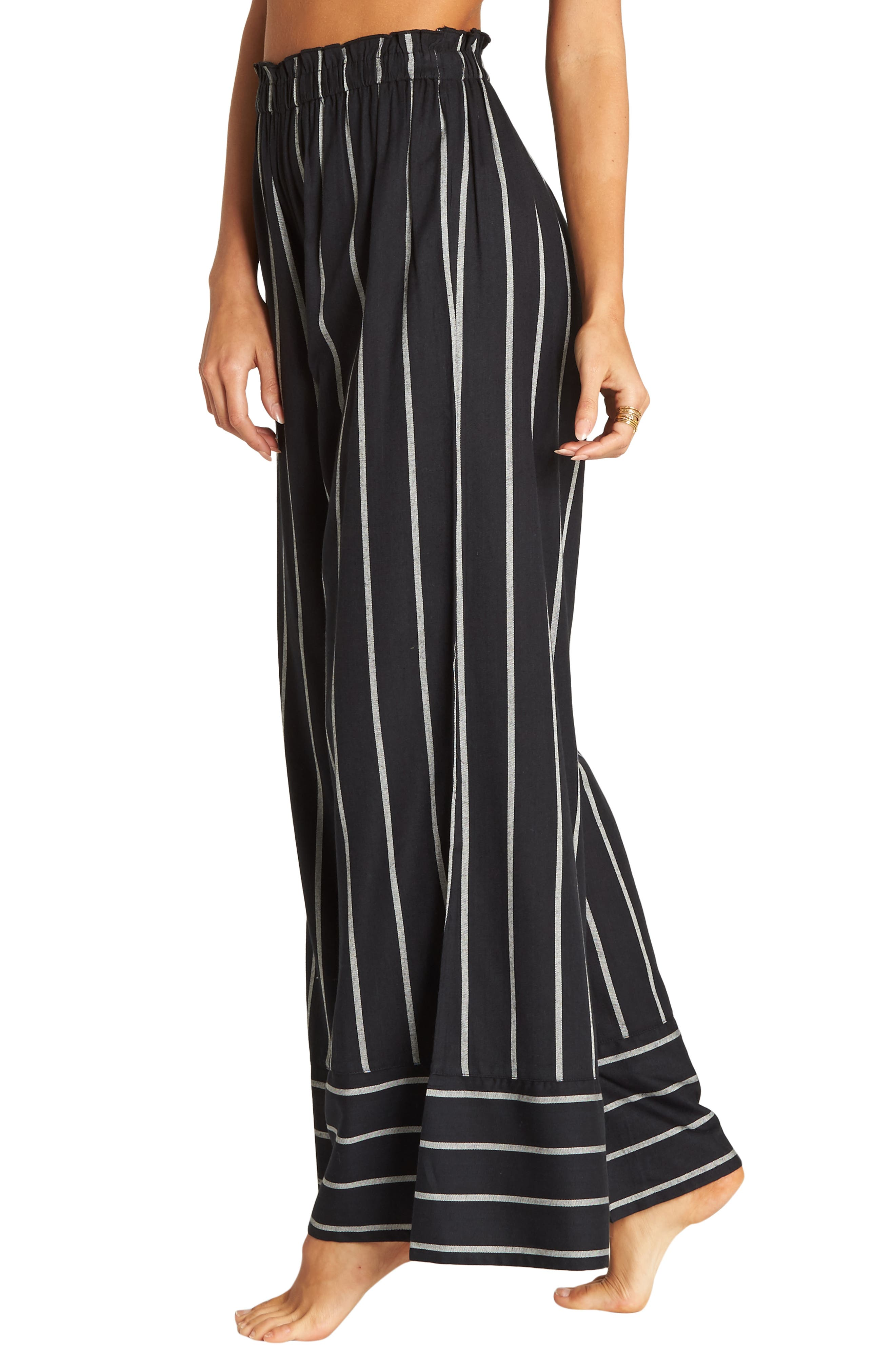 BILLABONG Flip Out Stripe Wide Leg Pants, Main, color, BLACK