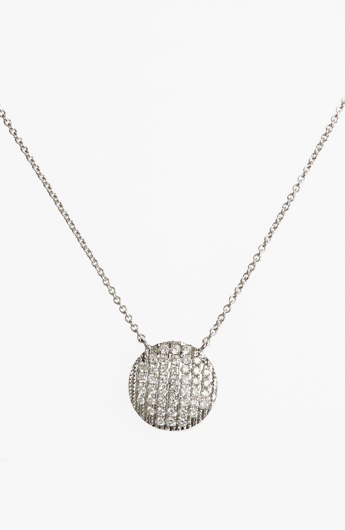 DANA REBECCA DESIGNS, 'Lauren Joy' Diamond Disc Pendant Necklace, Main thumbnail 1, color, WHITE GOLD