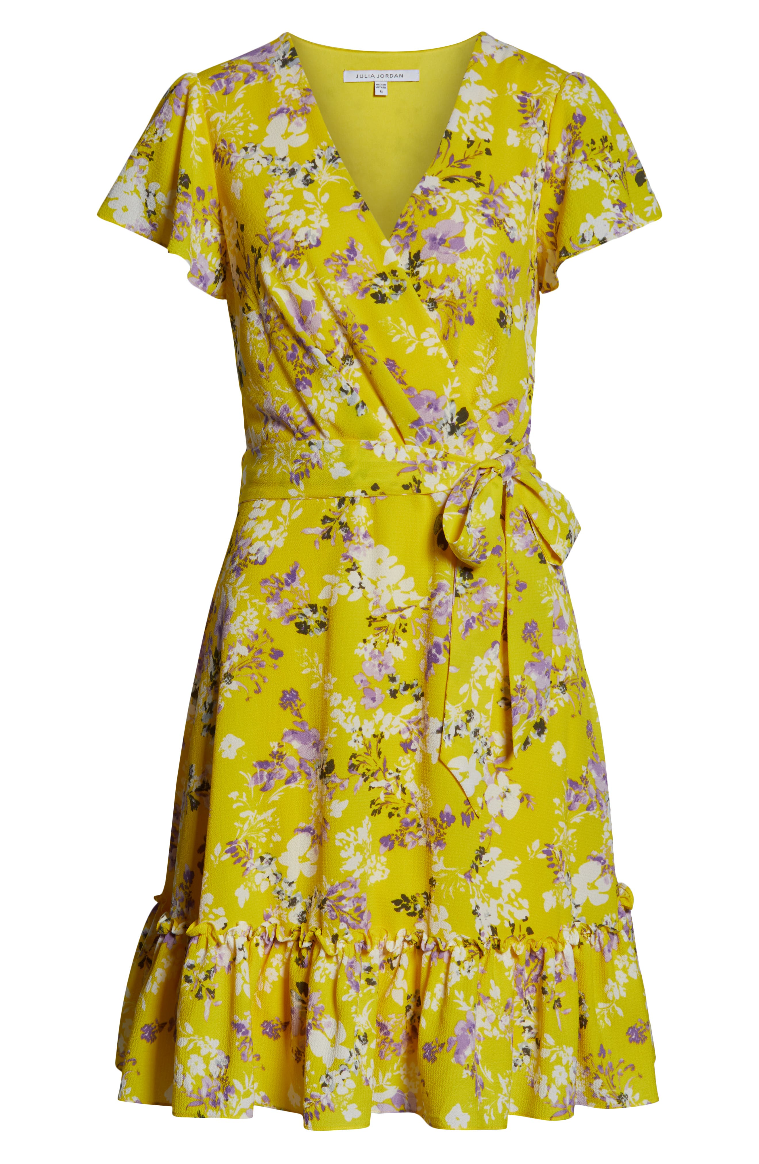 JULIA JORDAN, Floral Wrap Dress, Alternate thumbnail 7, color, YELLOW MULTI
