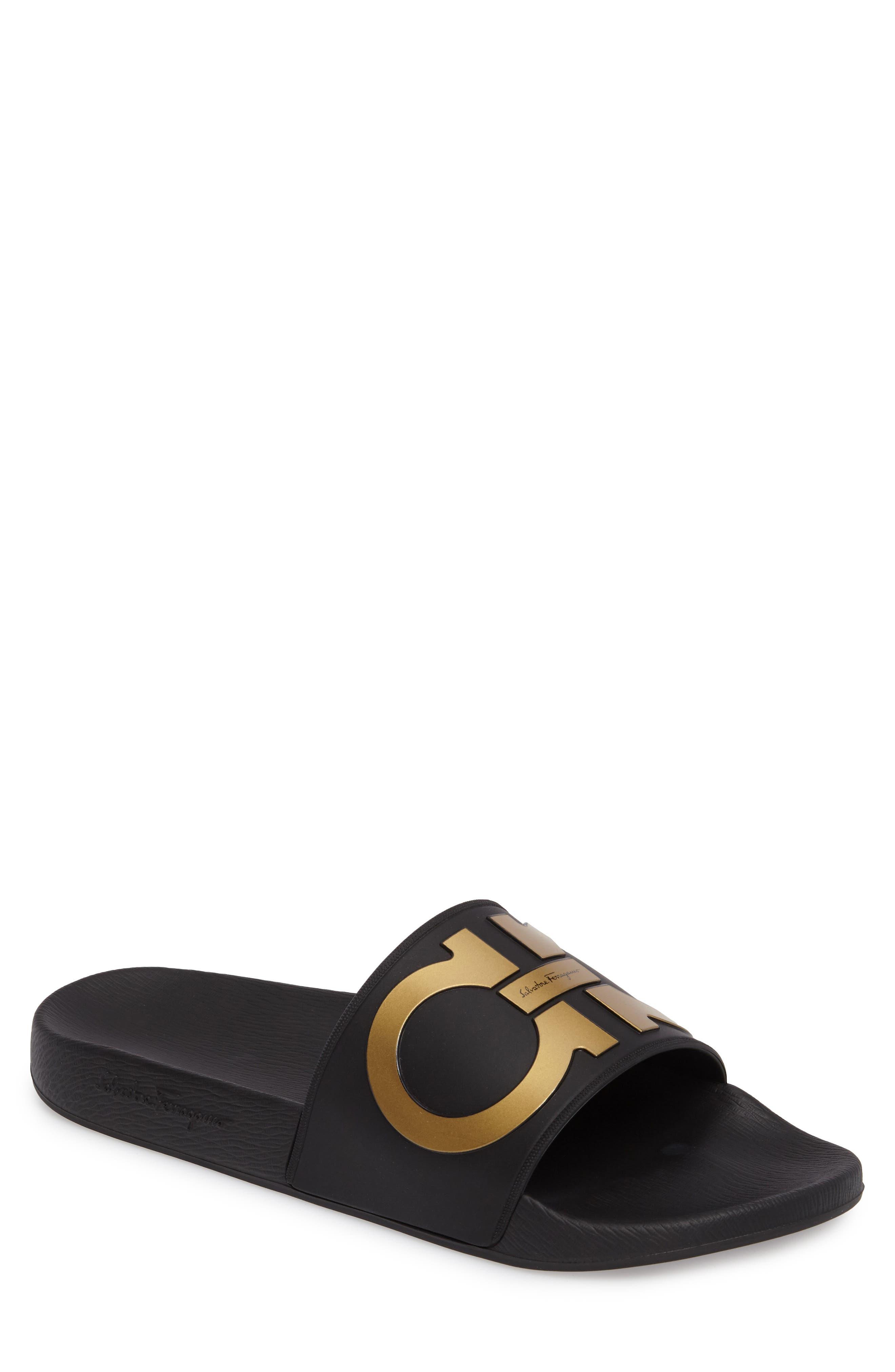 SALVATORE FERRAGAMO Groove 2 Slide Sandal, Main, color, BLACK/GOLD