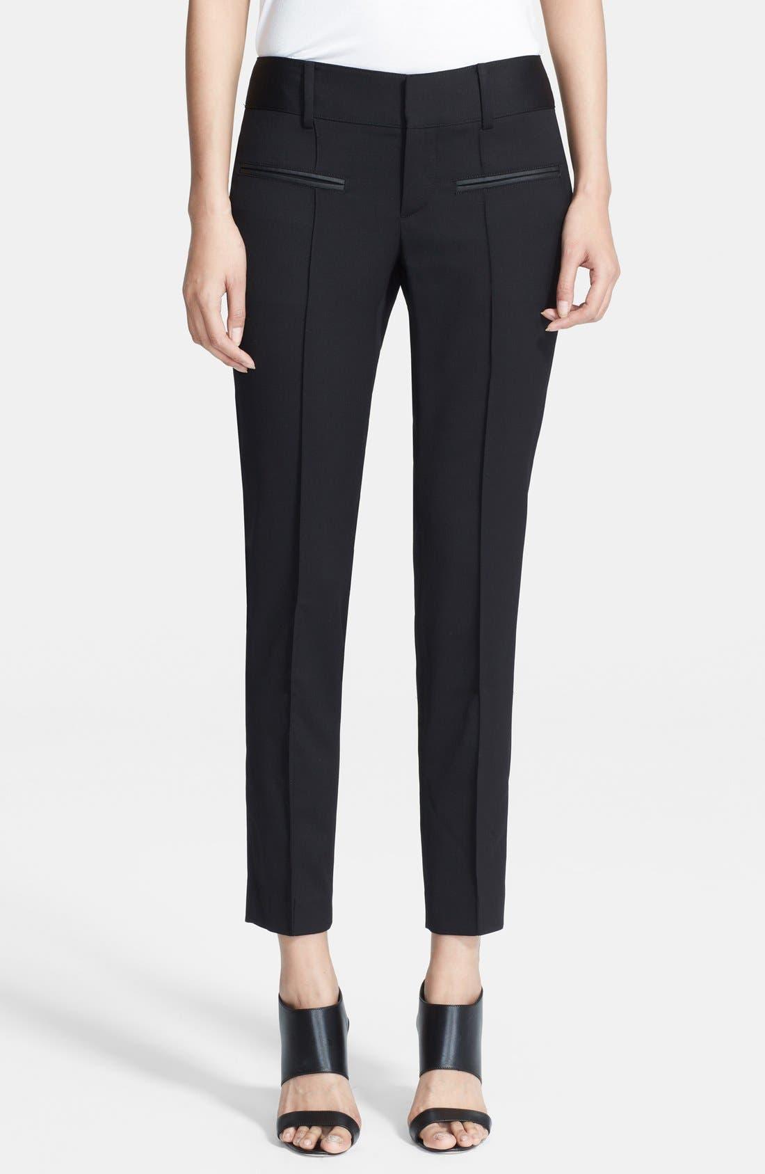 HELMUT LANG, Stretch Wool Ankle Pants, Main thumbnail 1, color, BLACK