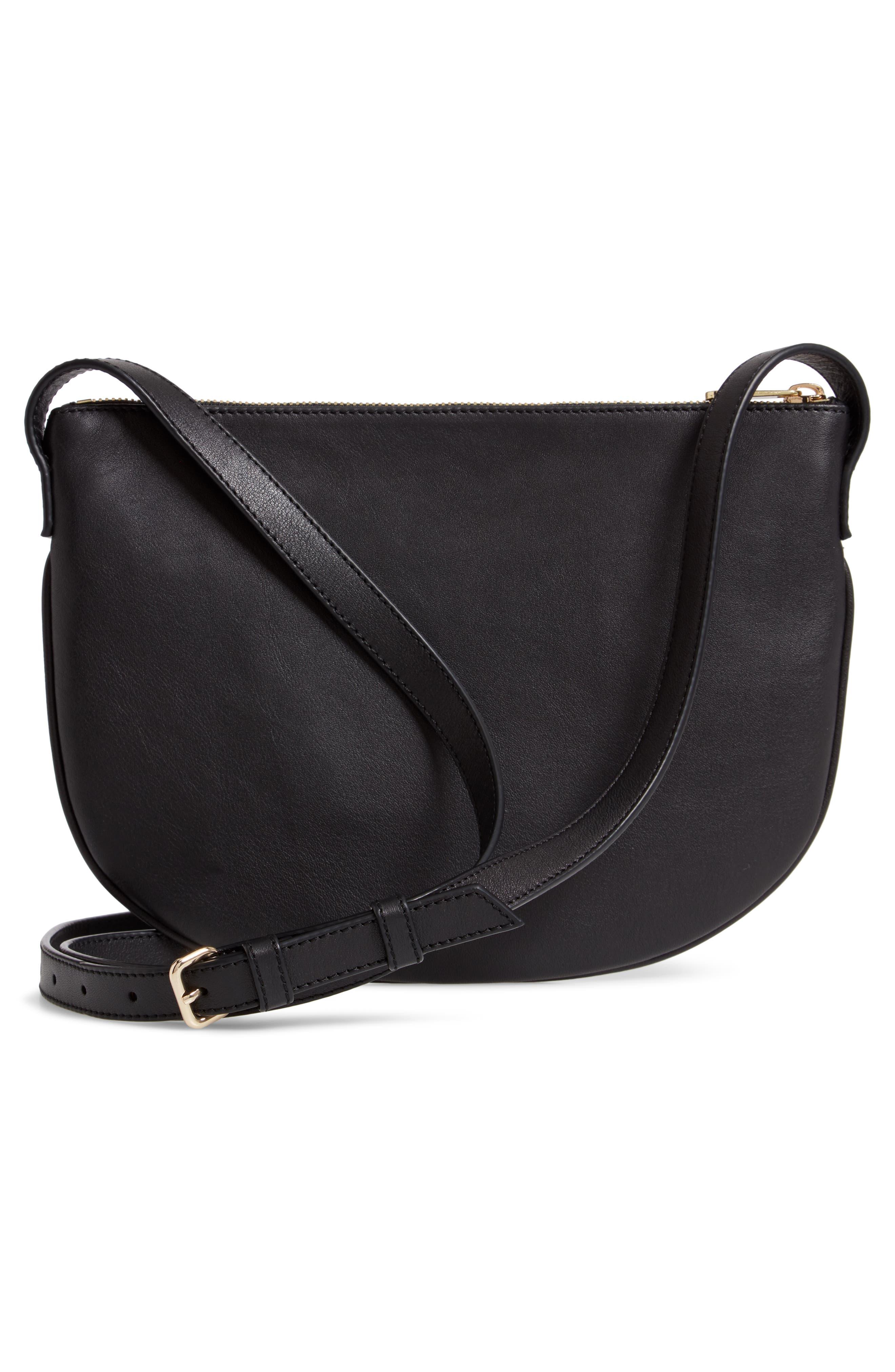A.P.C., Sac Maelys Leather Crossbody Bag, Alternate thumbnail 4, color, LZZ NOIR