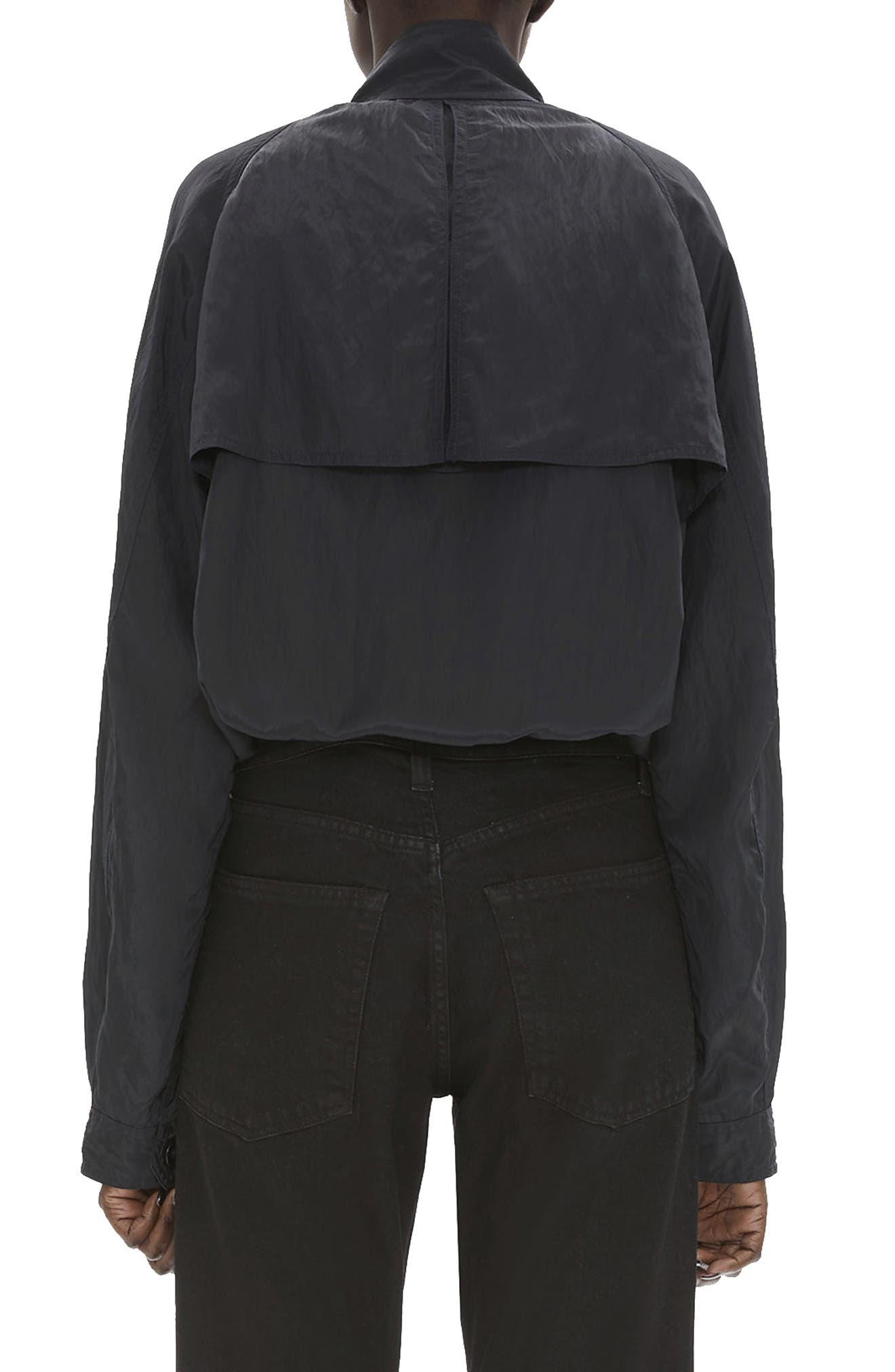 HELMUT LANG, Parachute Short Trench Jacket, Alternate thumbnail 2, color, BLACK