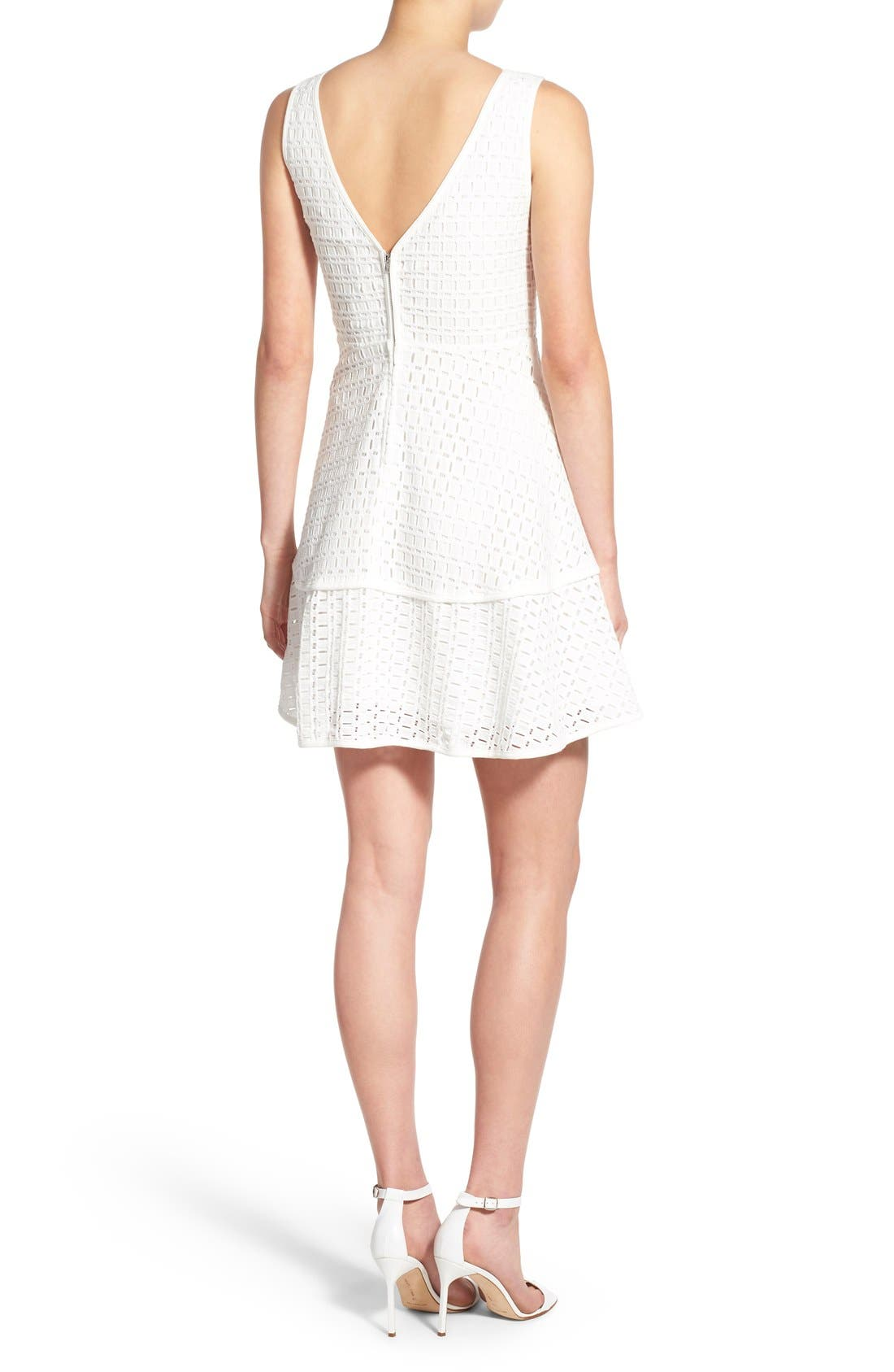 CUPCAKES AND CASHMERE, 'Matilda' Eyelet Fit & Flare Dress, Alternate thumbnail 3, color, 101