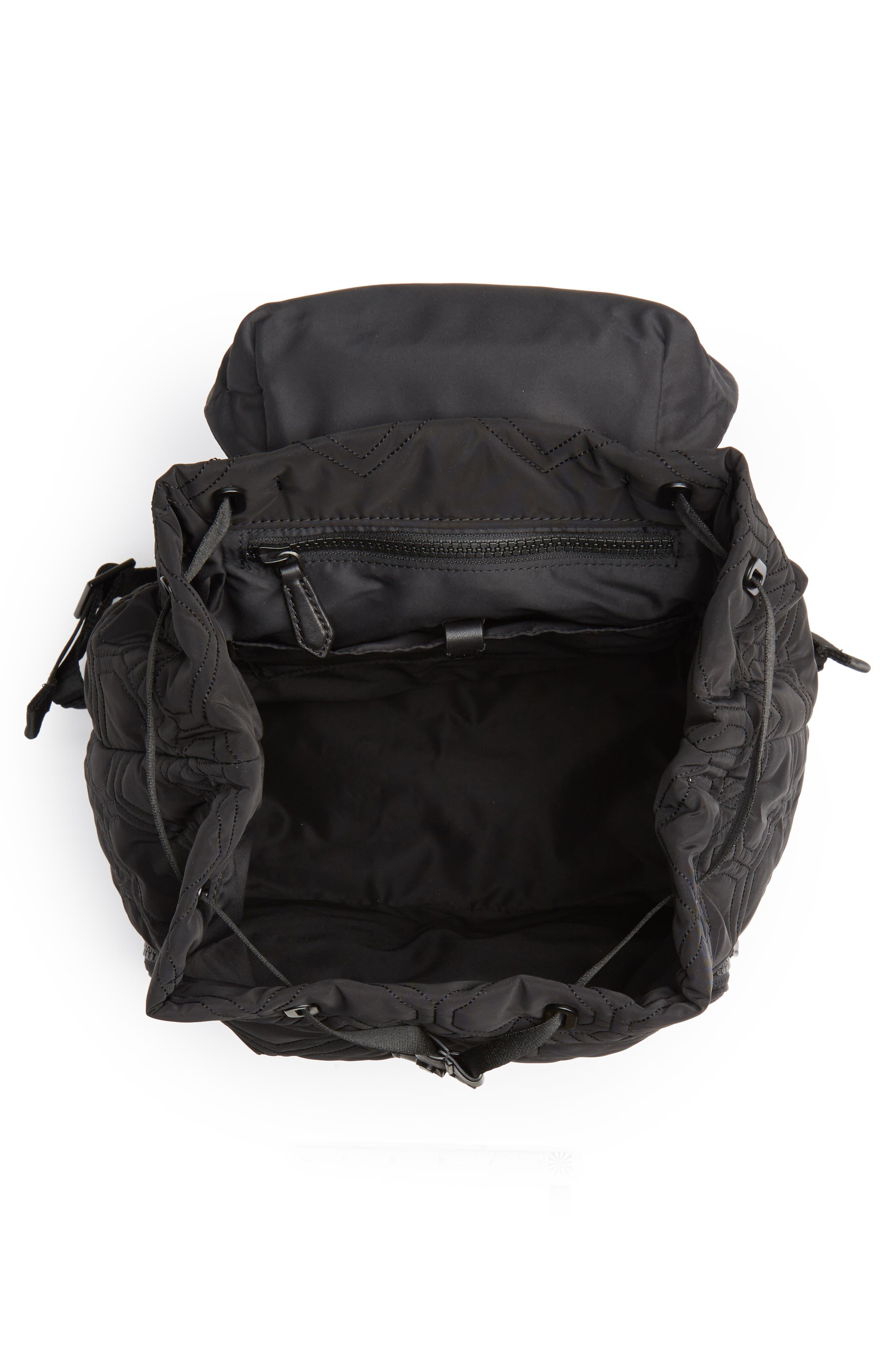 KATE SPADE NEW YORK, large jayne quilted nylon backpack, Alternate thumbnail 4, color, BLACK
