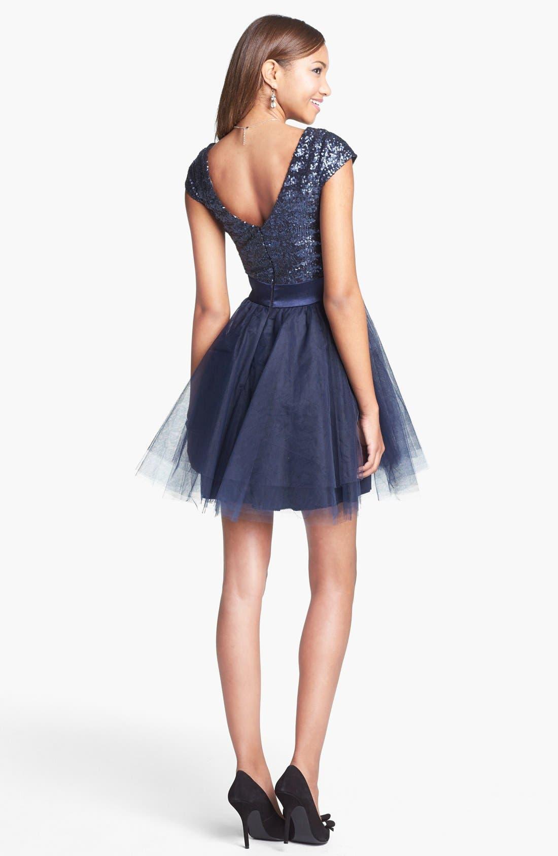 TRIXXI, Sequin & Tulle Party Dress, Alternate thumbnail 2, color, 400