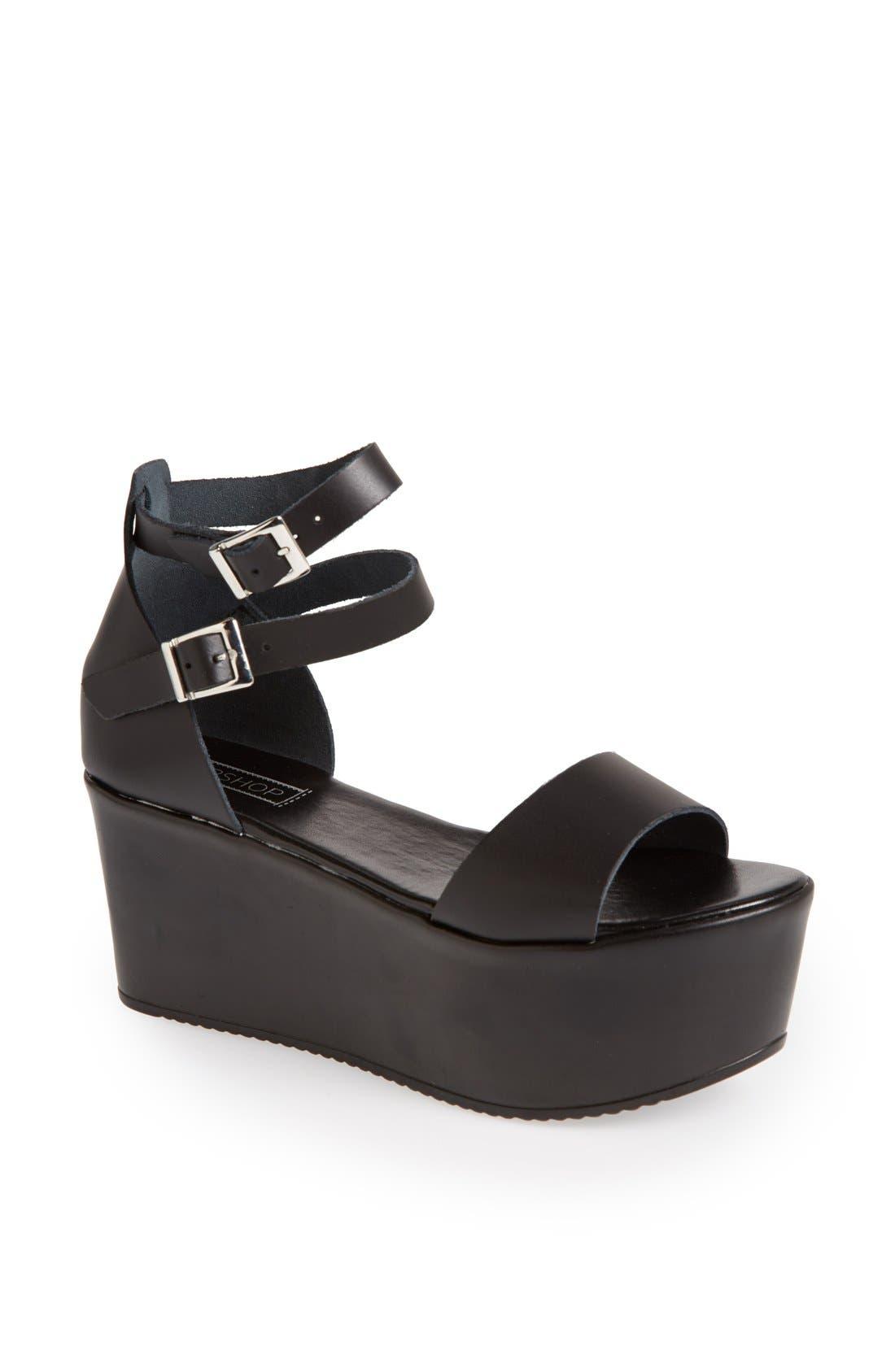 TOPSHOP 'Wallis' Ankle Strap Platform Sandal, Main, color, 001