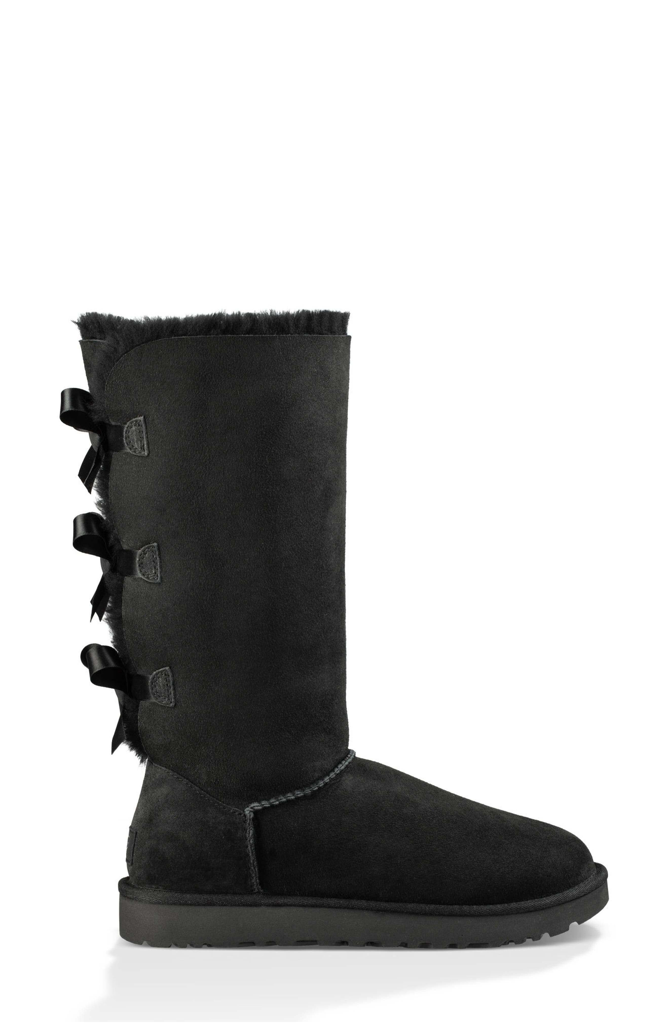 UGG<SUP>®</SUP>, Bailey Bow Tall II Boot, Alternate thumbnail 3, color, BLACK SUEDE