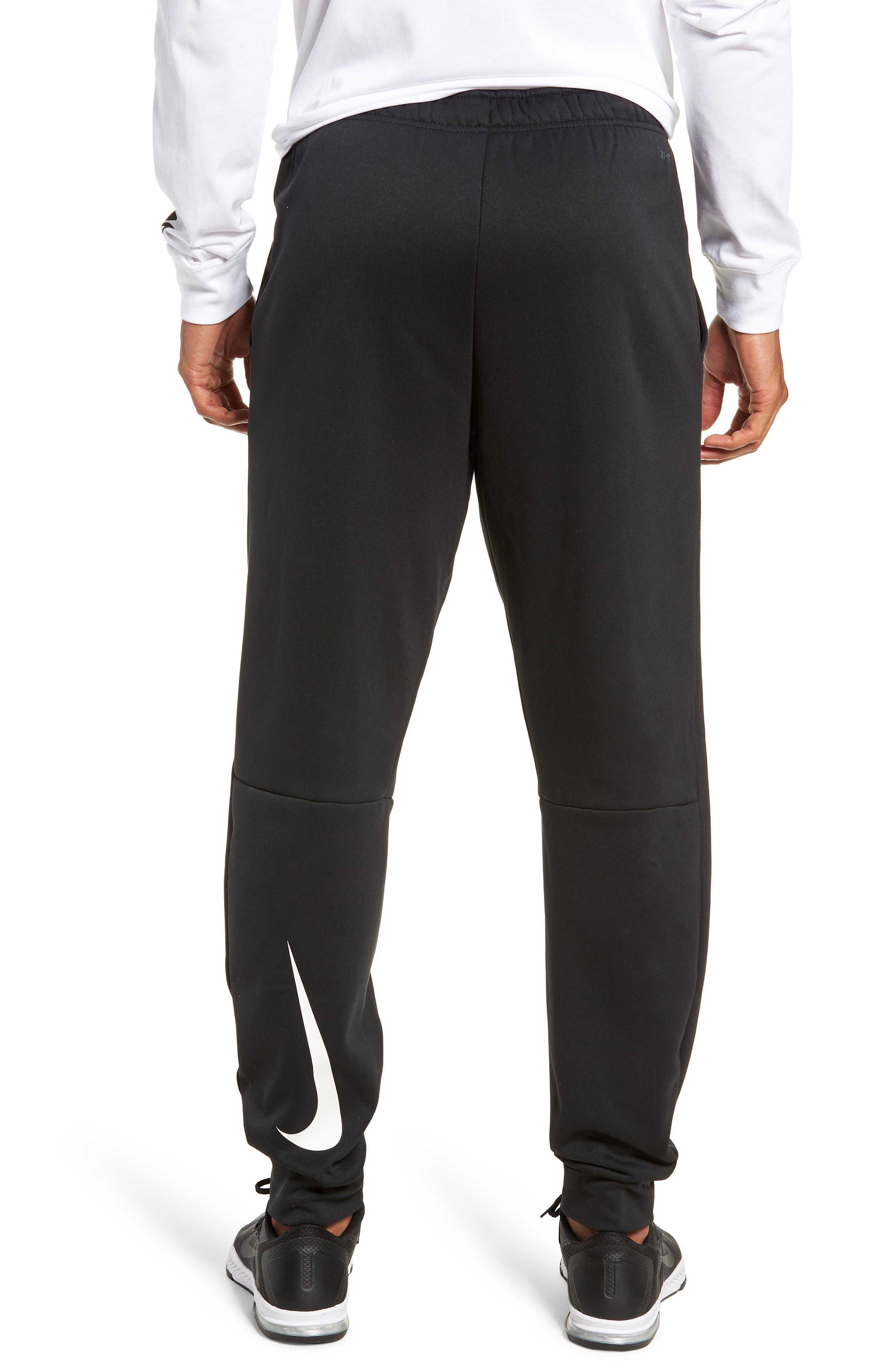 NIKE, Therma Tapered Pants, Alternate thumbnail 2, color, BLACK/ WHITE