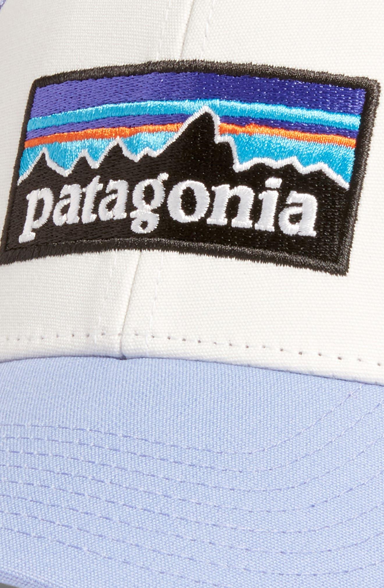 PATAGONIA, P6 LoPro Trucker Hat, Alternate thumbnail 3, color, WHITE W/ LIGHT VIOLET BLUE