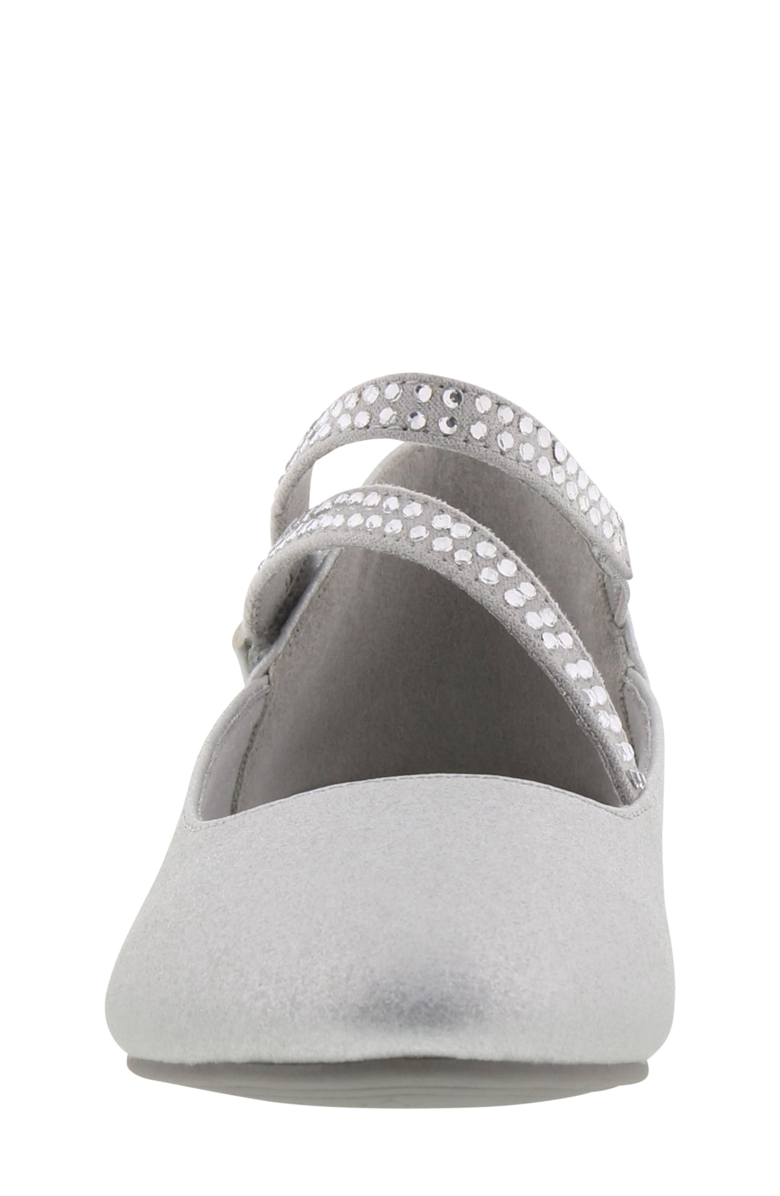 REACTION KENNETH COLE, Tap Lily-T Embellished Flat, Alternate thumbnail 4, color, SILVER