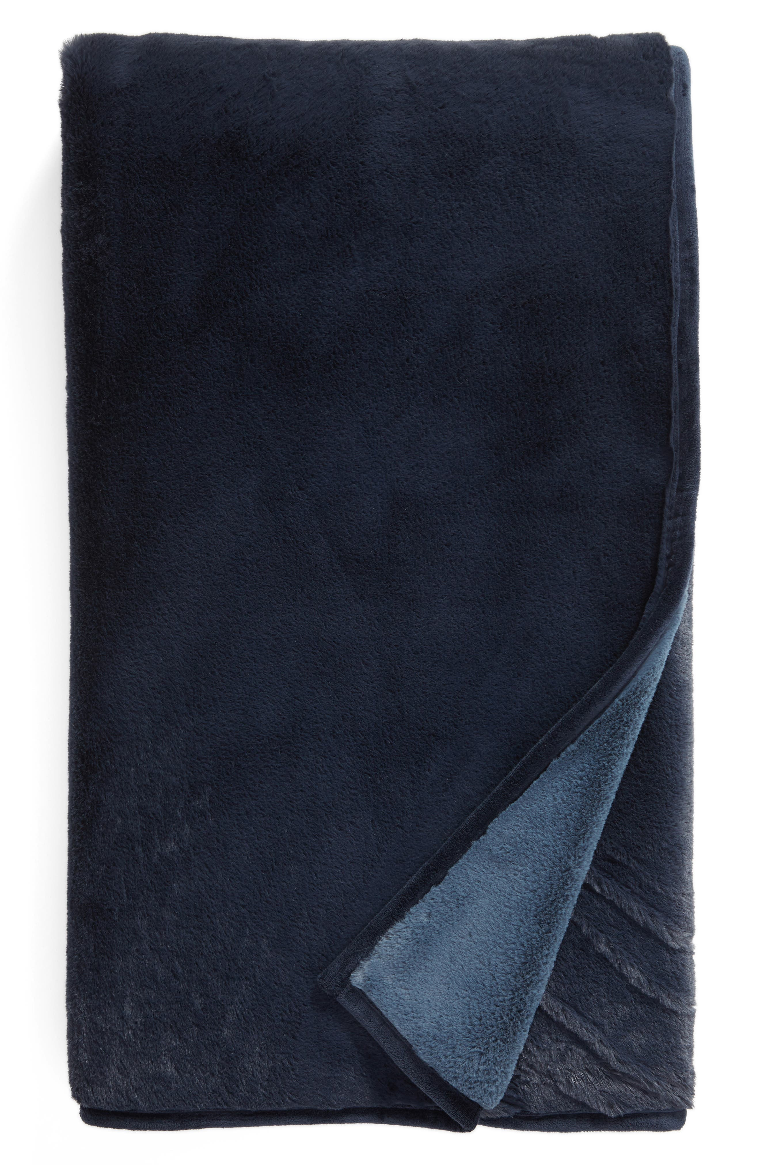 NORDSTROM AT HOME Reversible Plush Throw Blanket, Main, color, NAVY BLUE