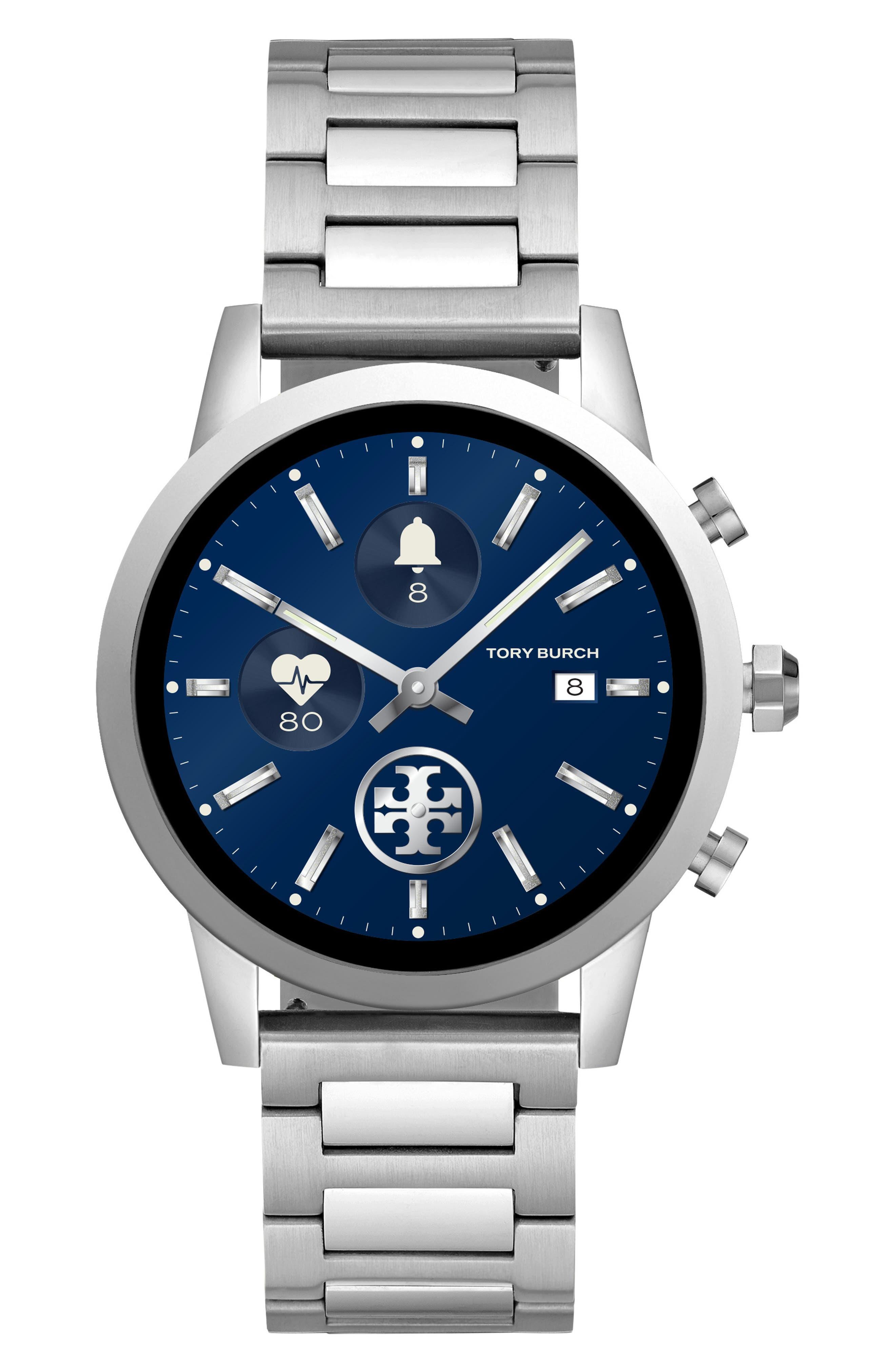 TORY BURCH, ToryTrack Gigi Touchscreen Smart Watch, 40mm, Main thumbnail 1, color, SILVER