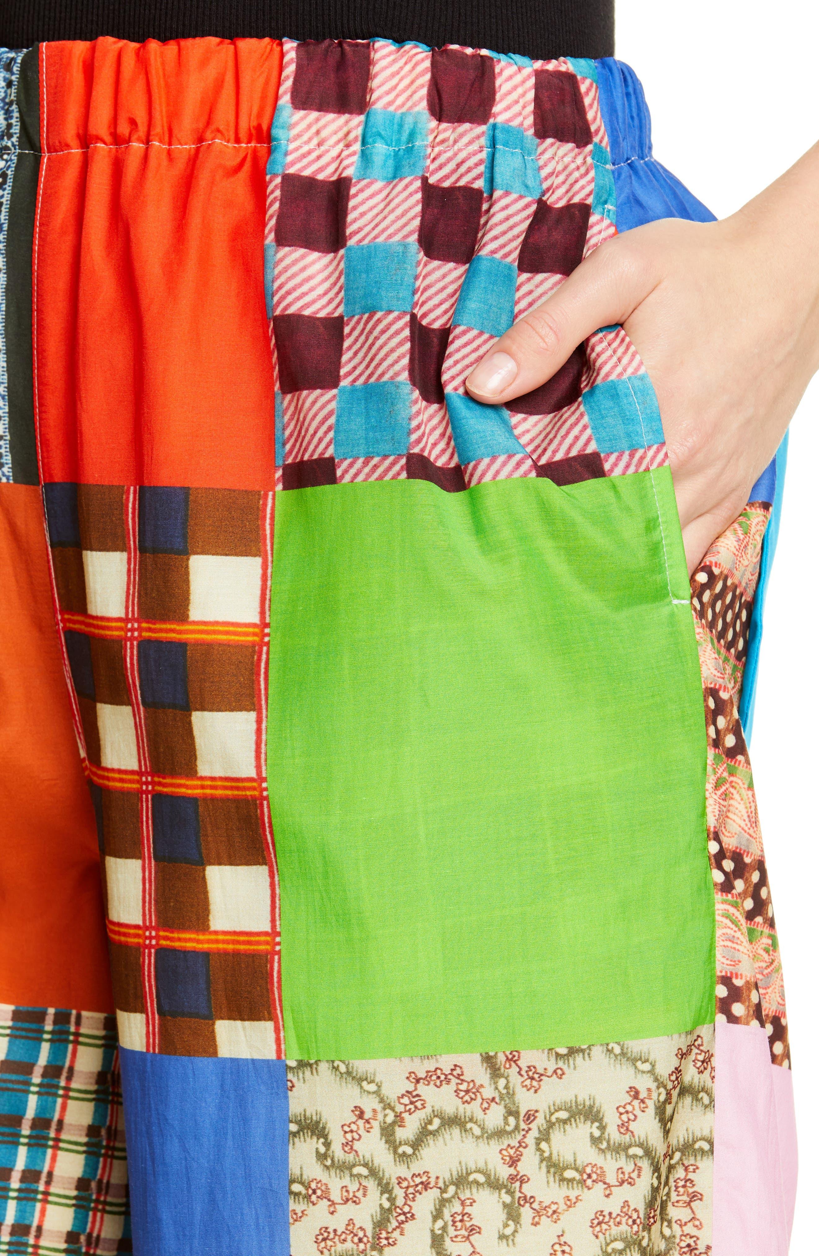TRICOT COMME DES GARÇONS, Patchwork Print Culottes, Alternate thumbnail 4, color, B PATTERN