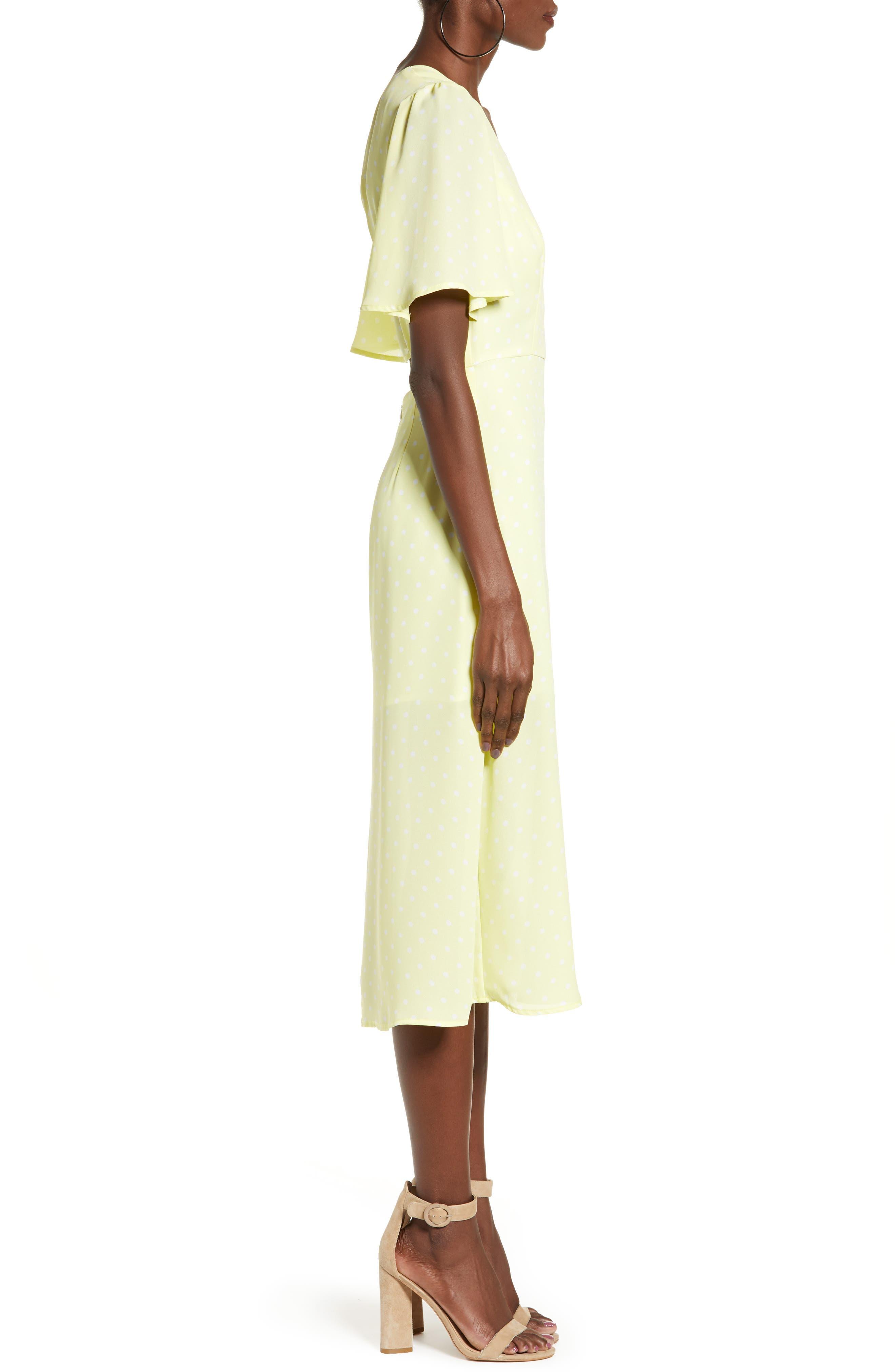LEITH, Flutter Sleeve Midi Dress, Alternate thumbnail 4, color, YELLOW MERINGUE DOT