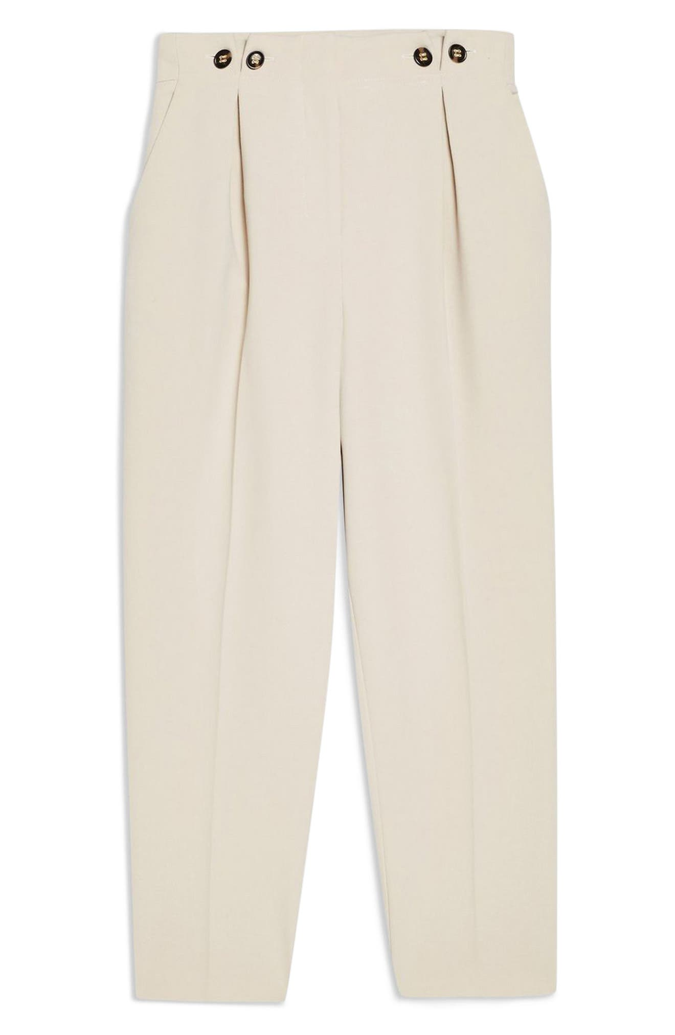 TOPSHOP, Betty Peg Trousers, Alternate thumbnail 3, color, STONE