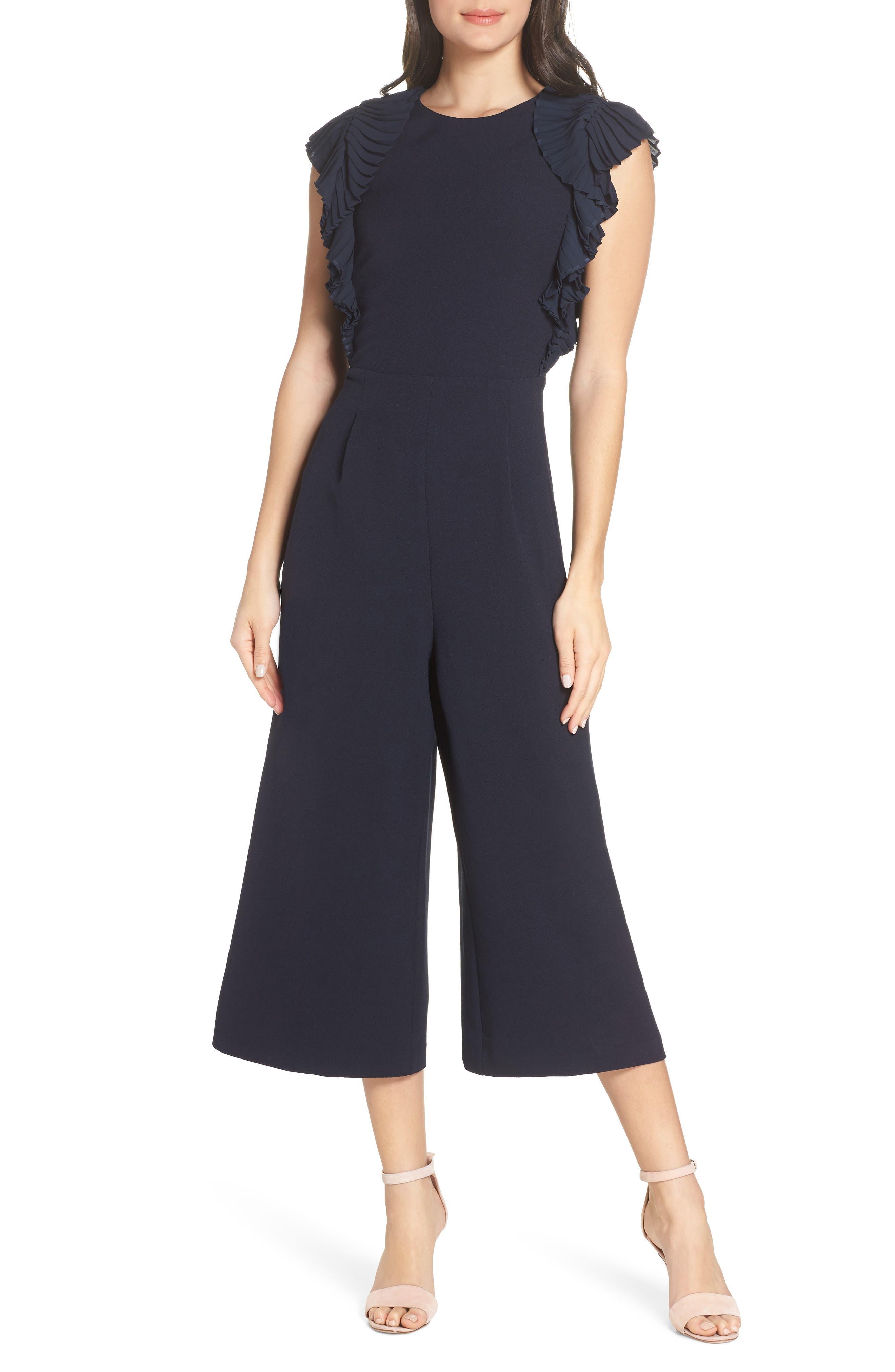 CHELSEA28, Pleated Shoulder Crop Jumpsuit, Main thumbnail 1, color, NAVY SAPPHIRE